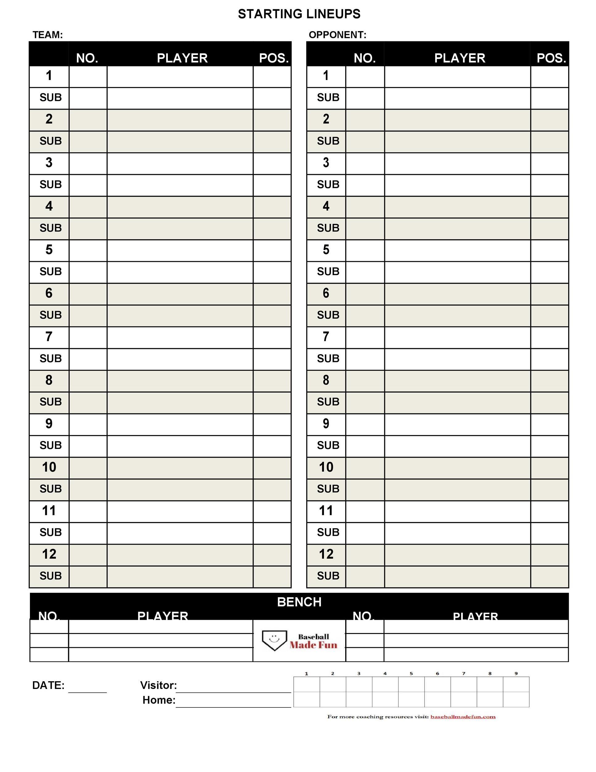 Free baseball lineup template 13