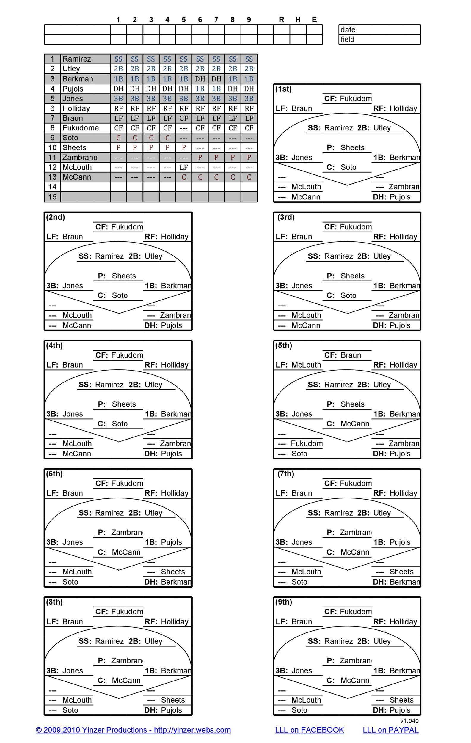 Free baseball lineup template 23