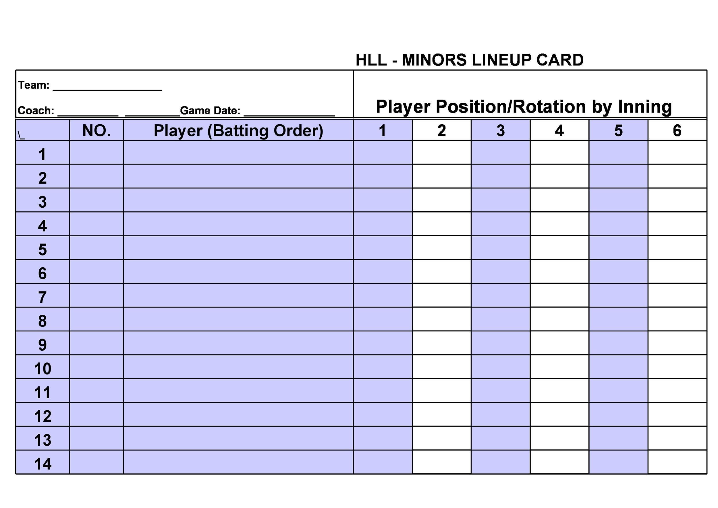 Free baseball lineup template 24