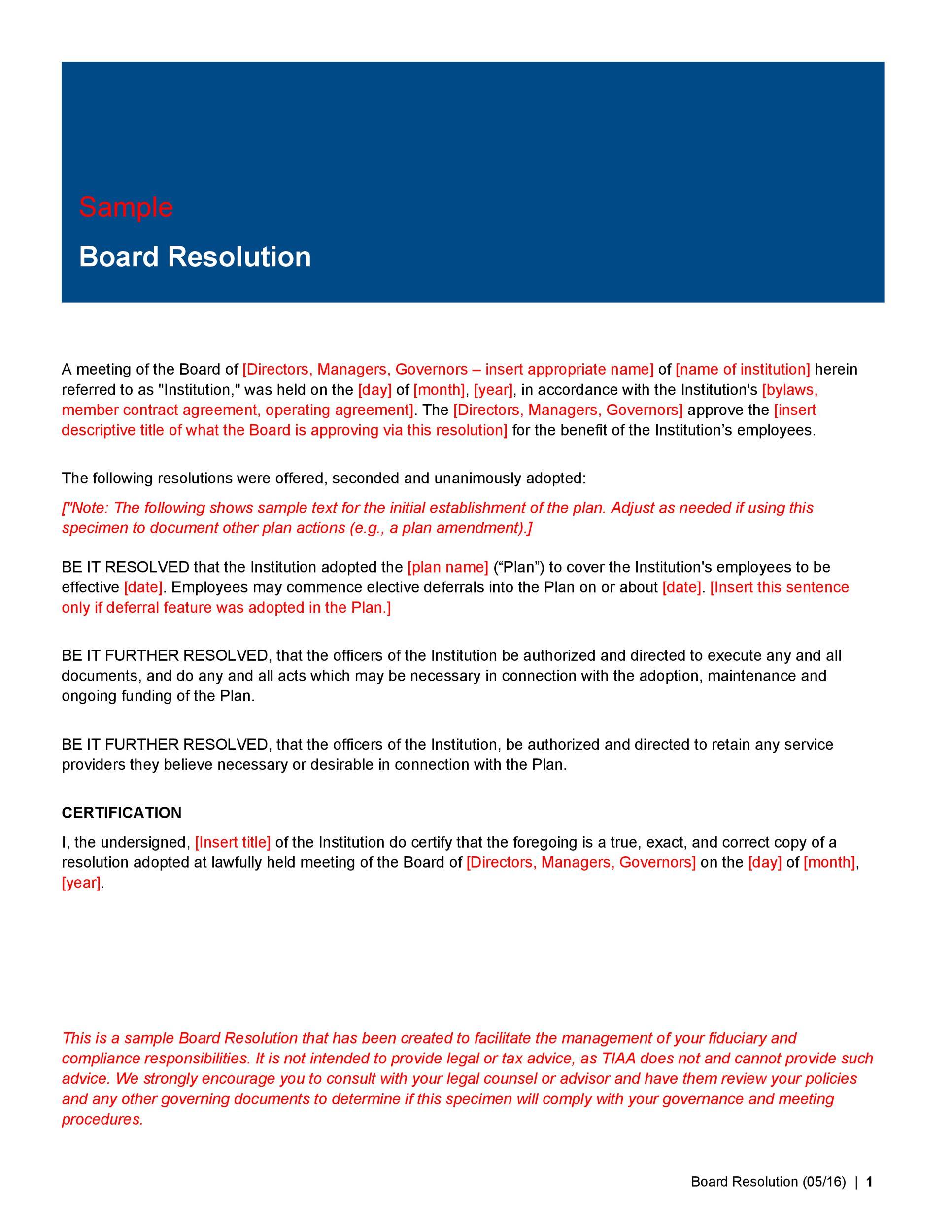 51 Best Board Resolution Templates & Samples ᐅ TemplateLab