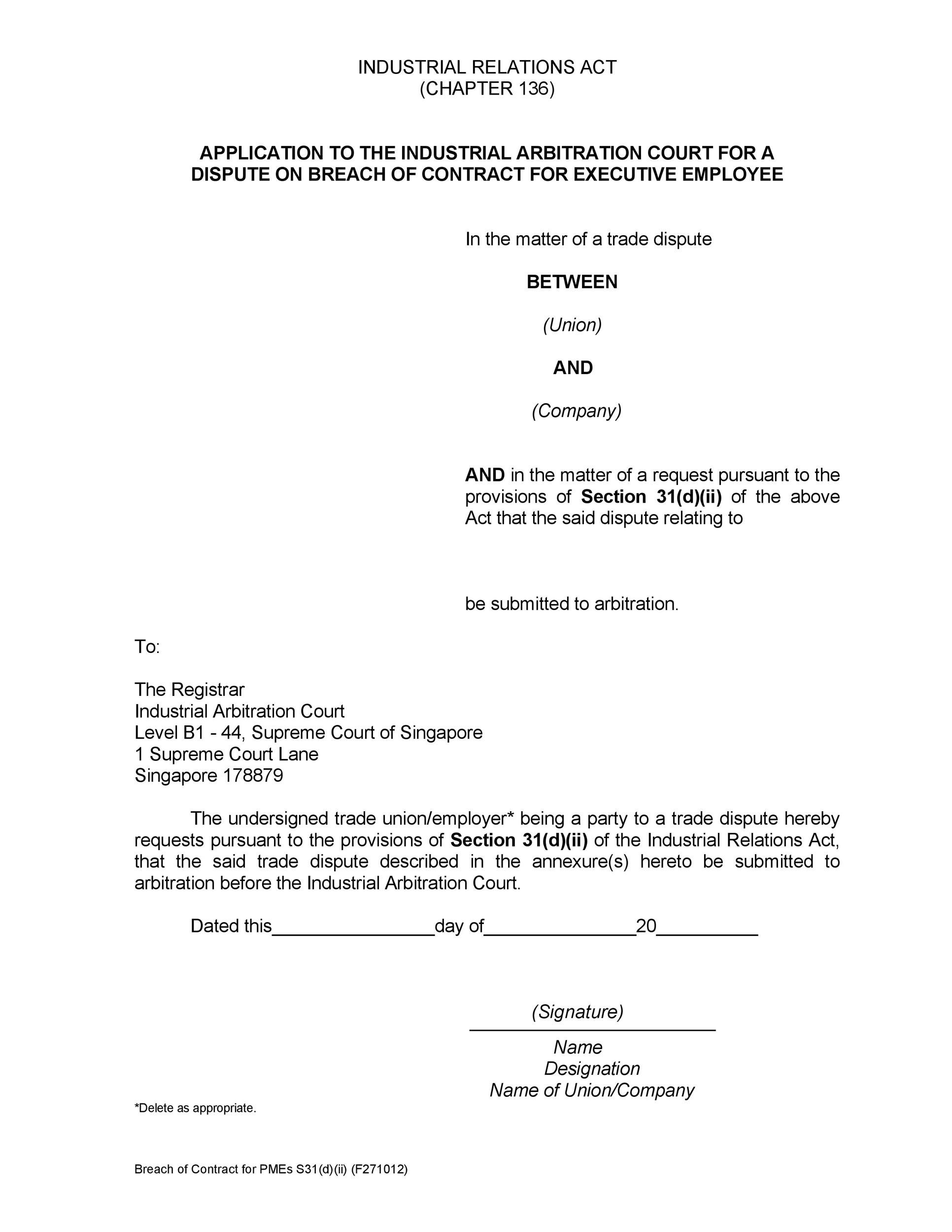 Free breach of contract 06