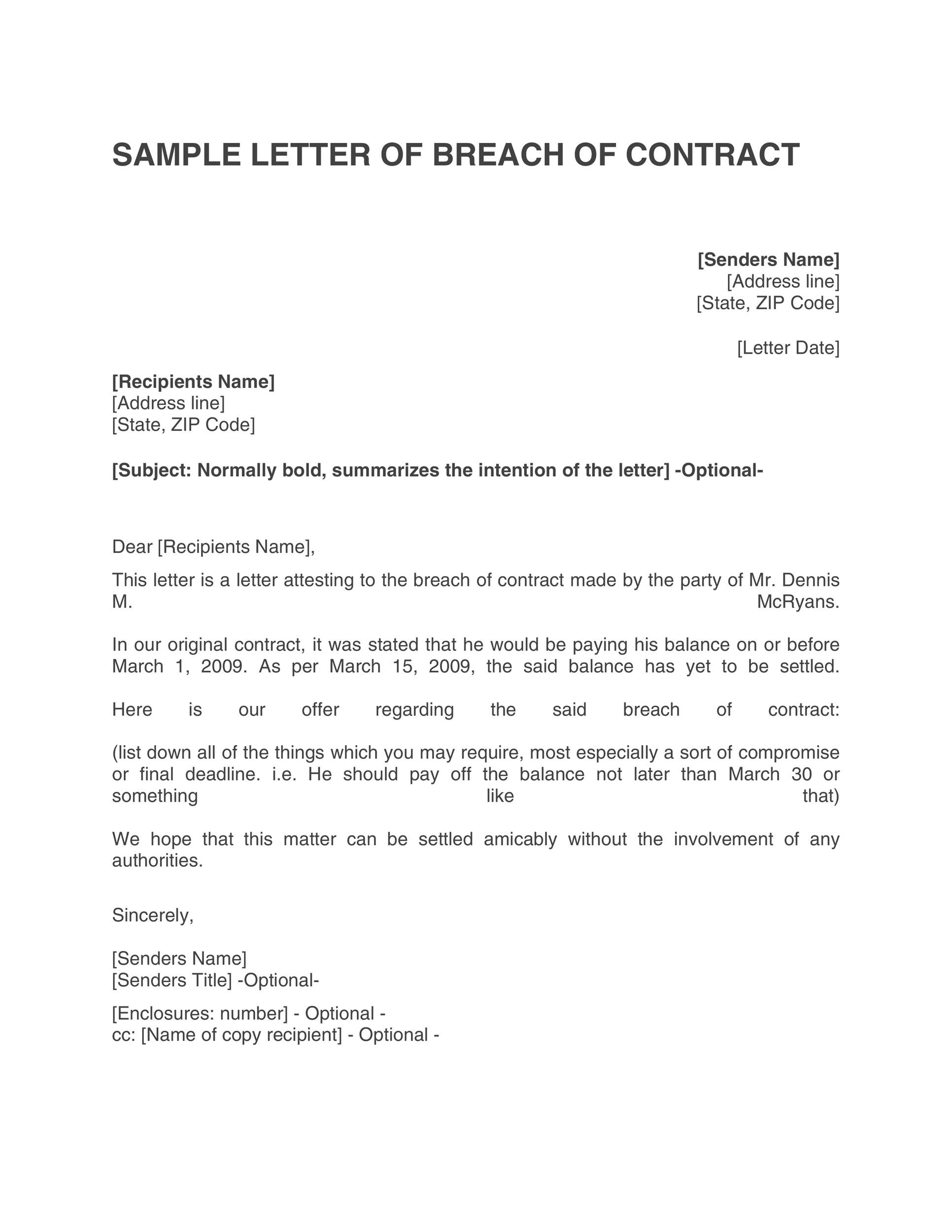 Breach Of Contract Letter Example from templatelab.com
