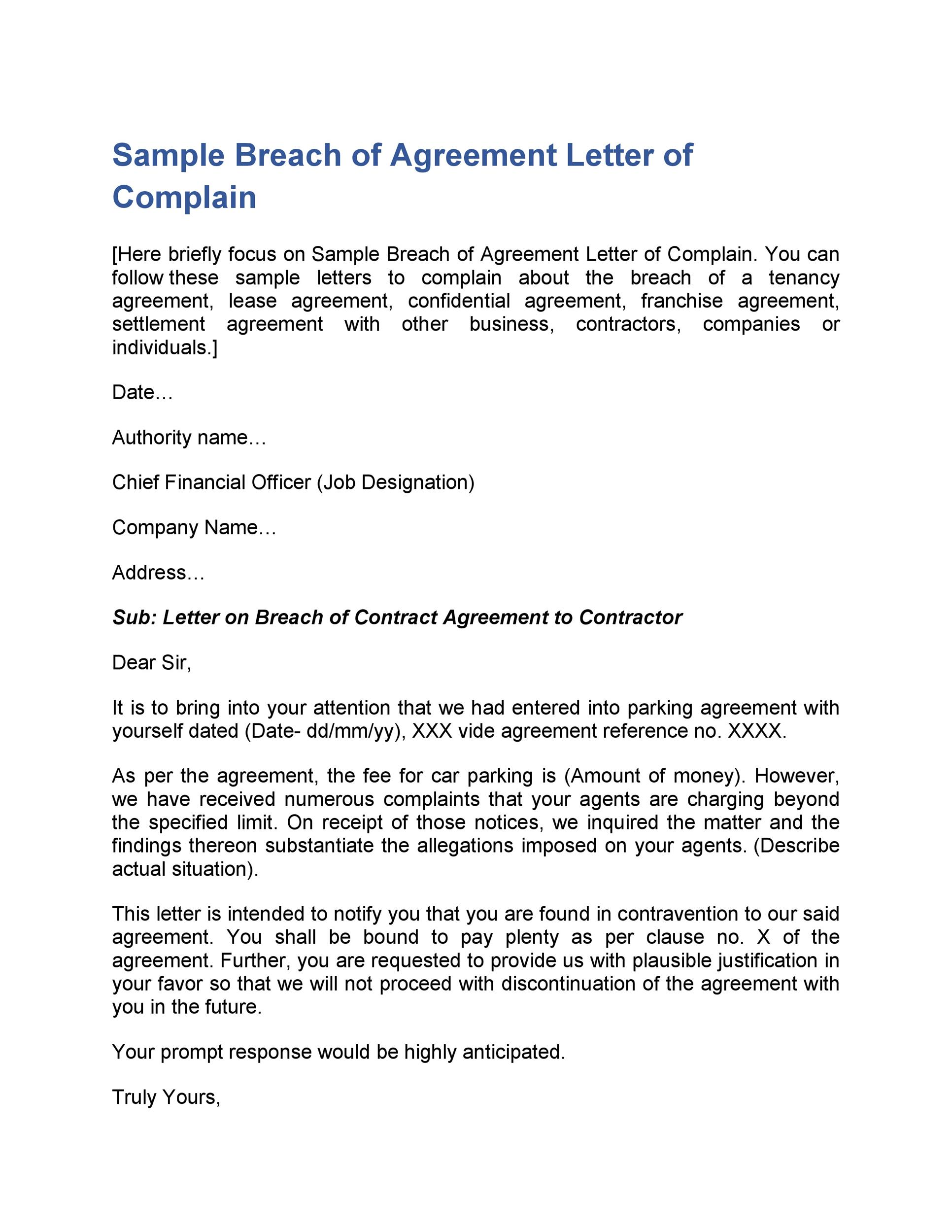 Breach Of Contract Letter Before Action from templatelab.com