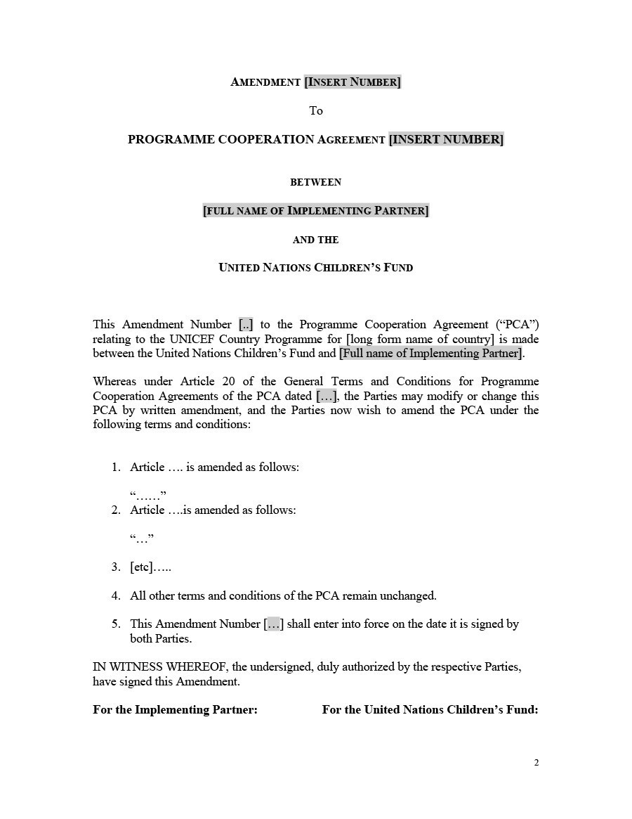 Free contract amendment 03