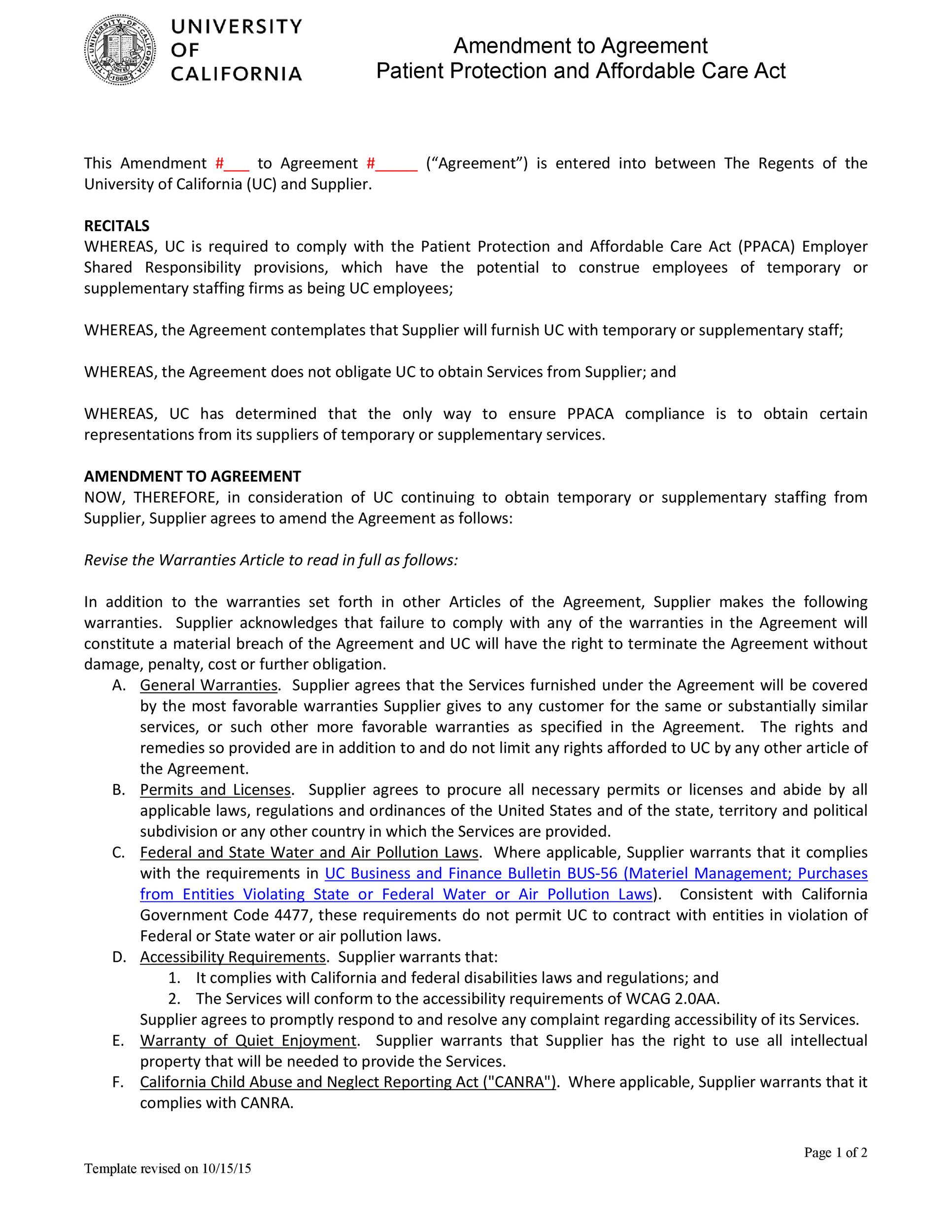 Free contract amendment 08