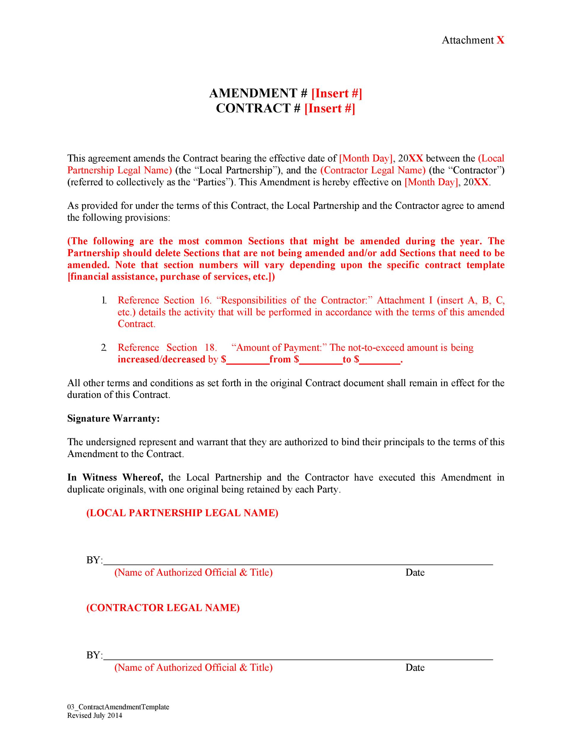 Free contract amendment 14
