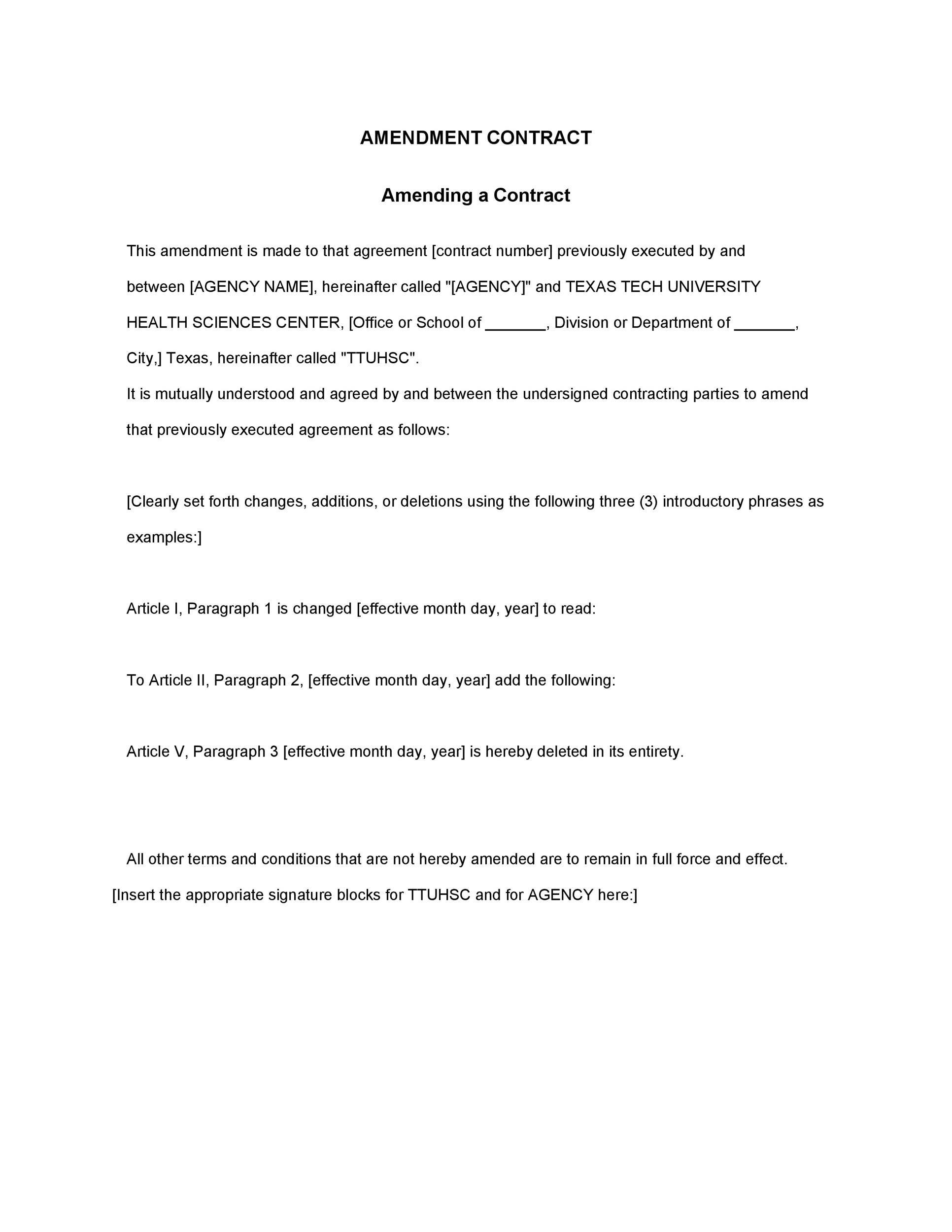 Free contract amendment 16