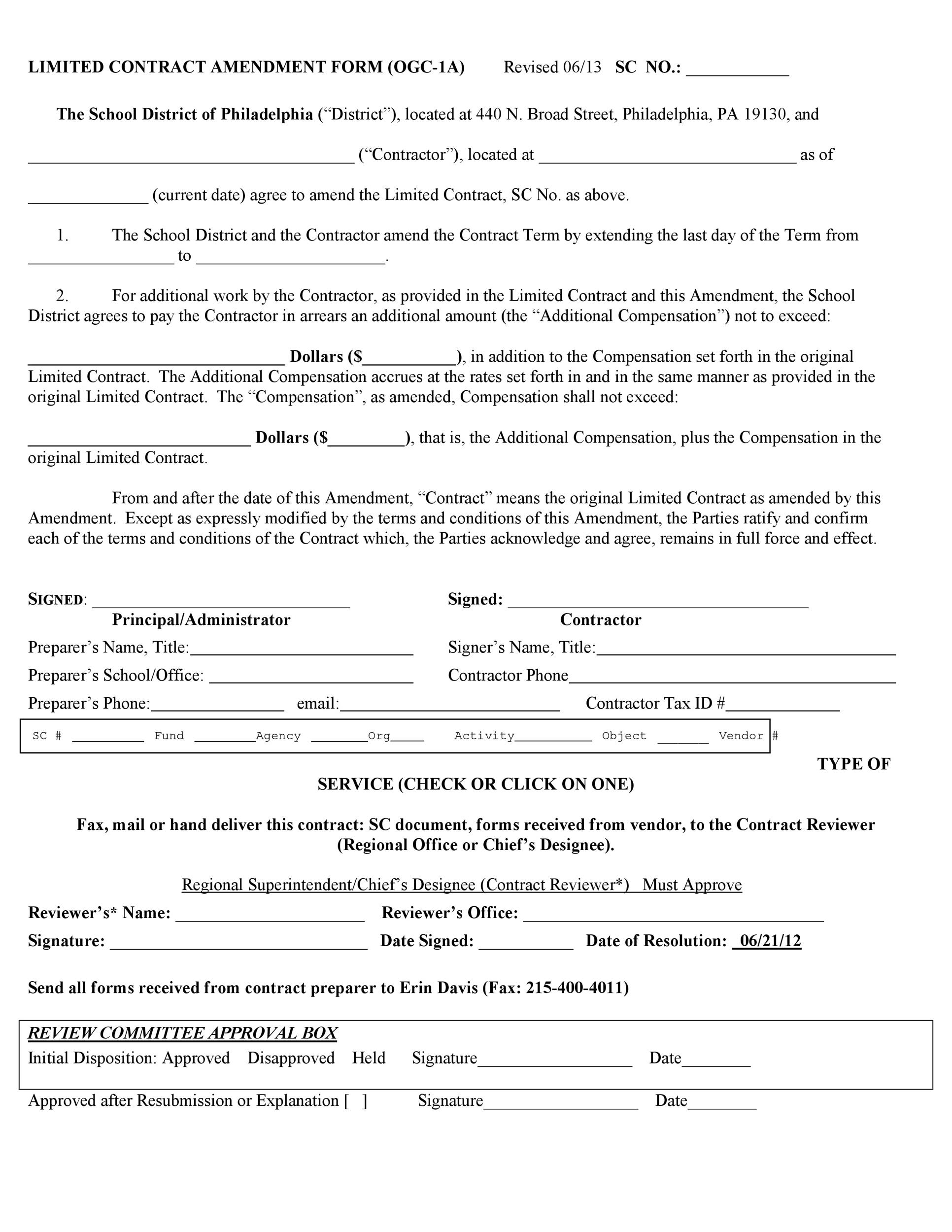 Free contract amendment 18