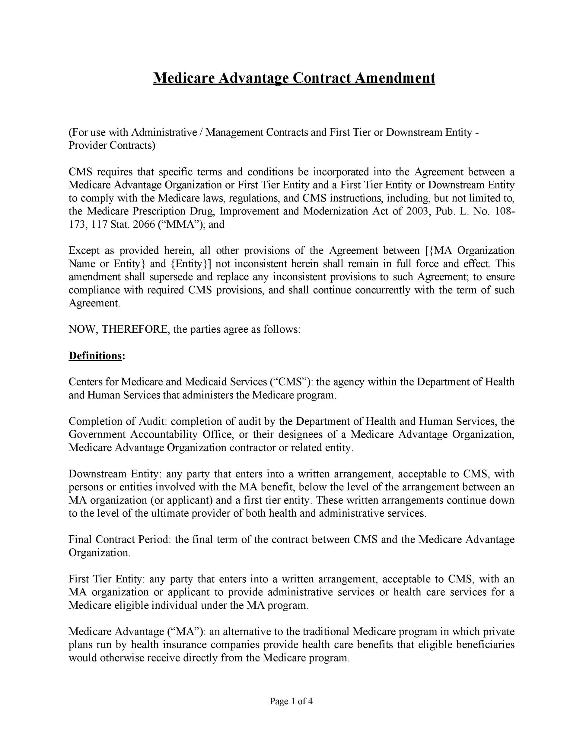 Free contract amendment 20