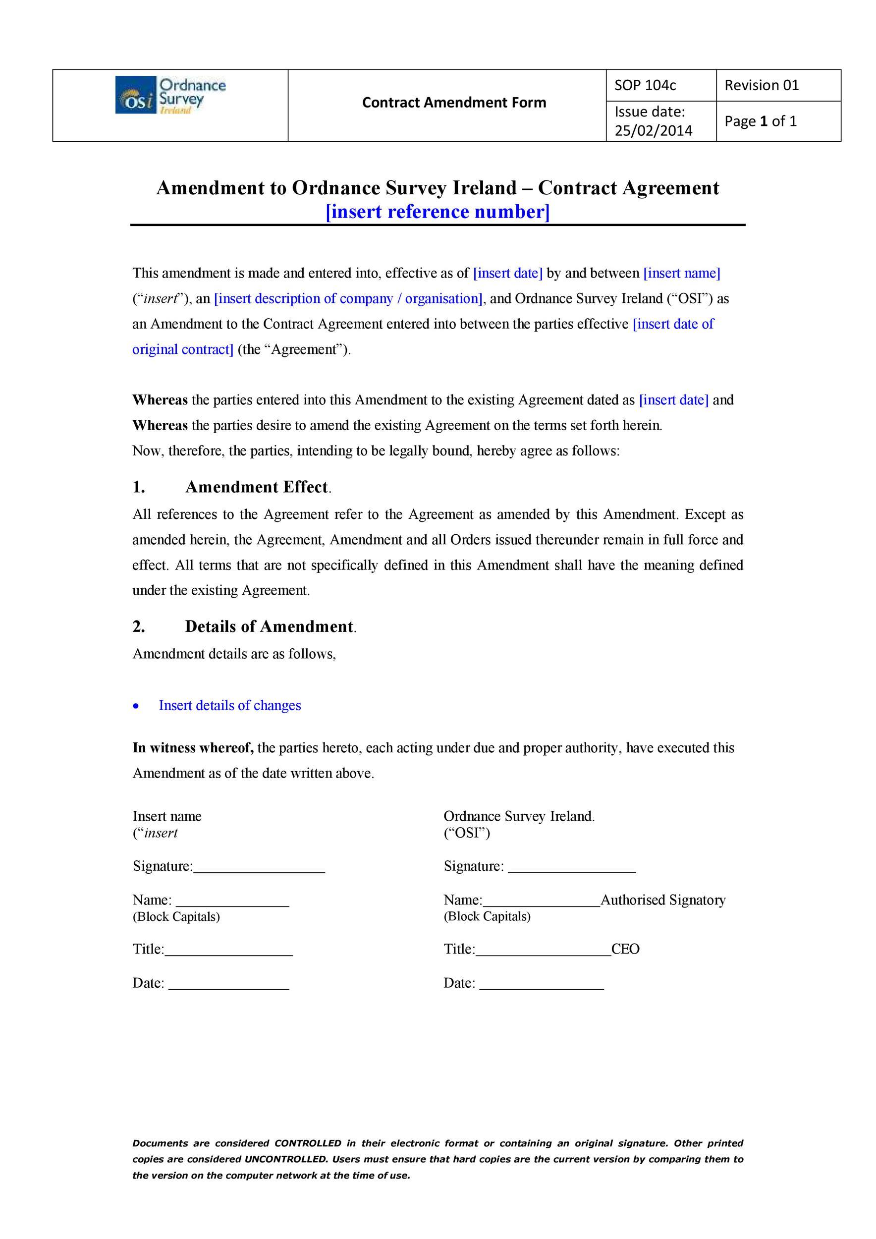 Free contract amendment 21