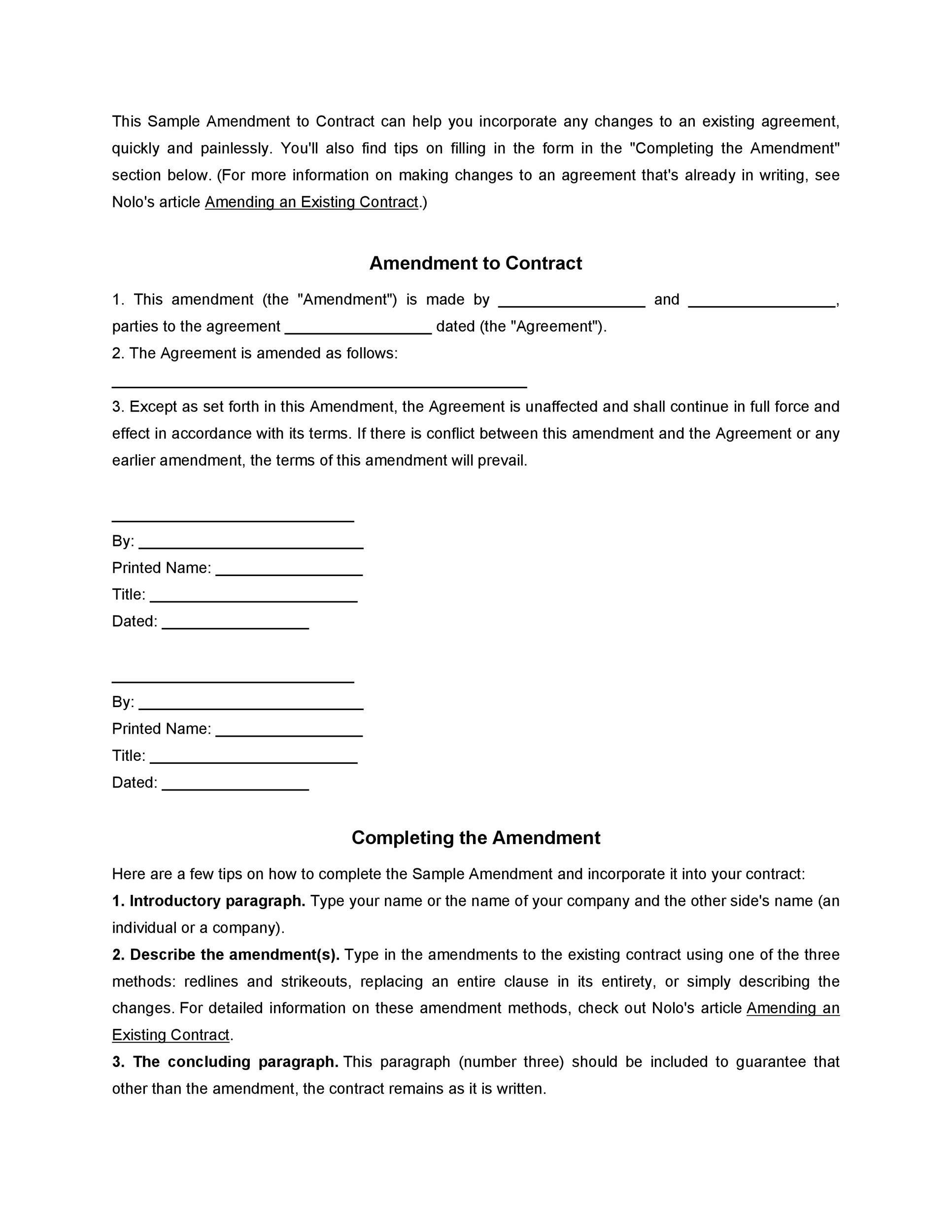 44 Professional Contract Amendment Templates Samples ᐅ