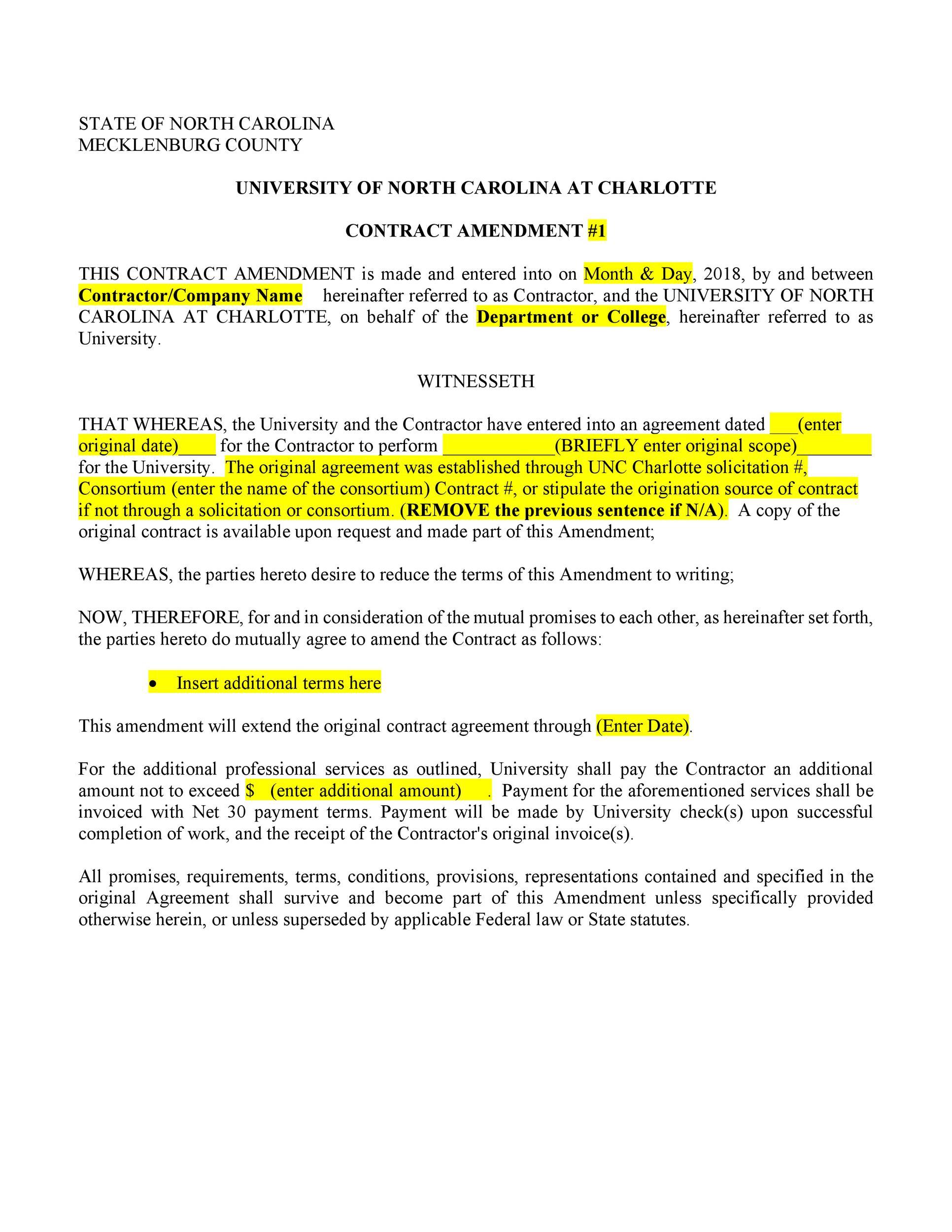 Free contract amendment 25