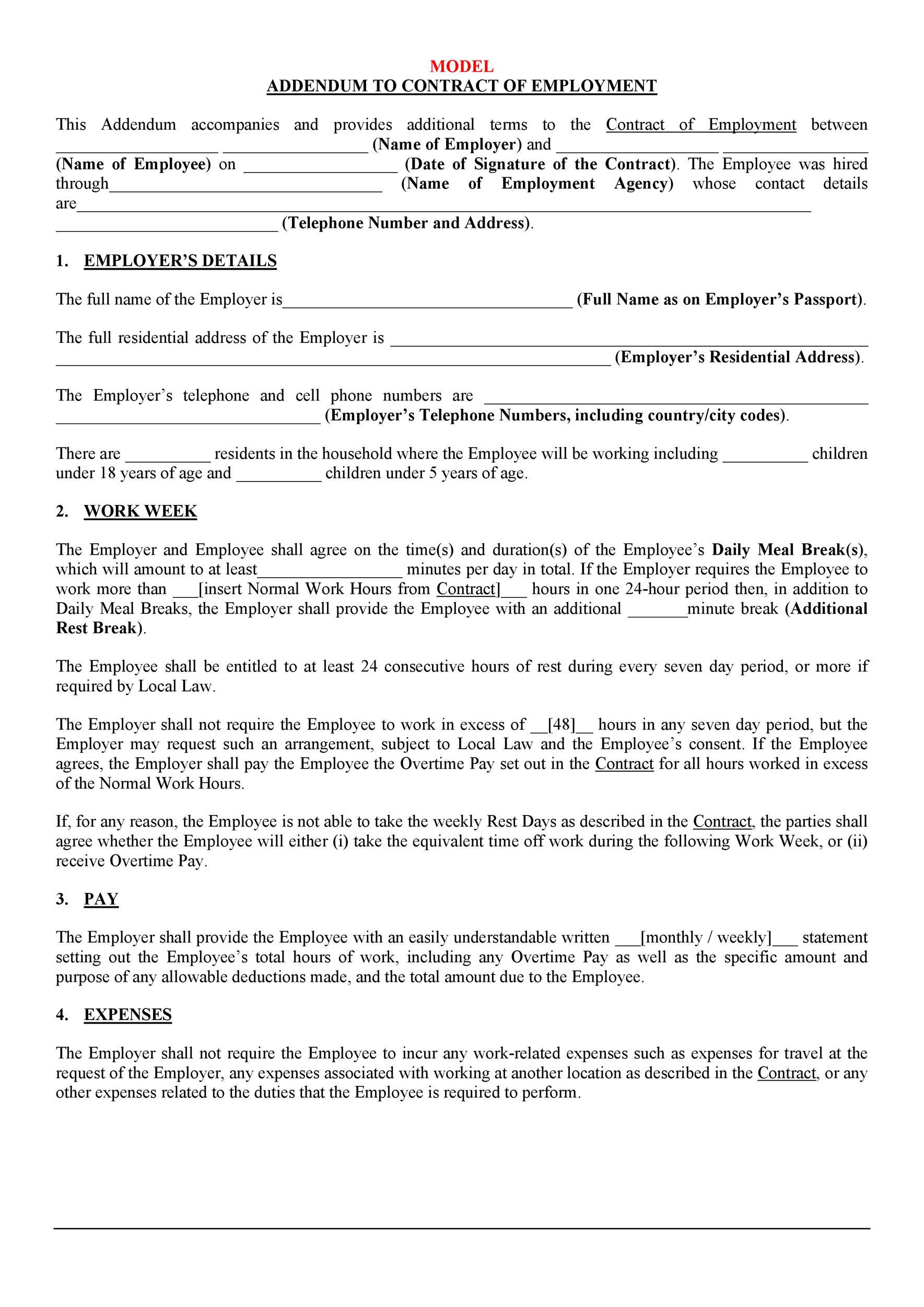 Addendum Sample Letter Agreement.44 Professional Contract Amendment Templates Samples ᐅ