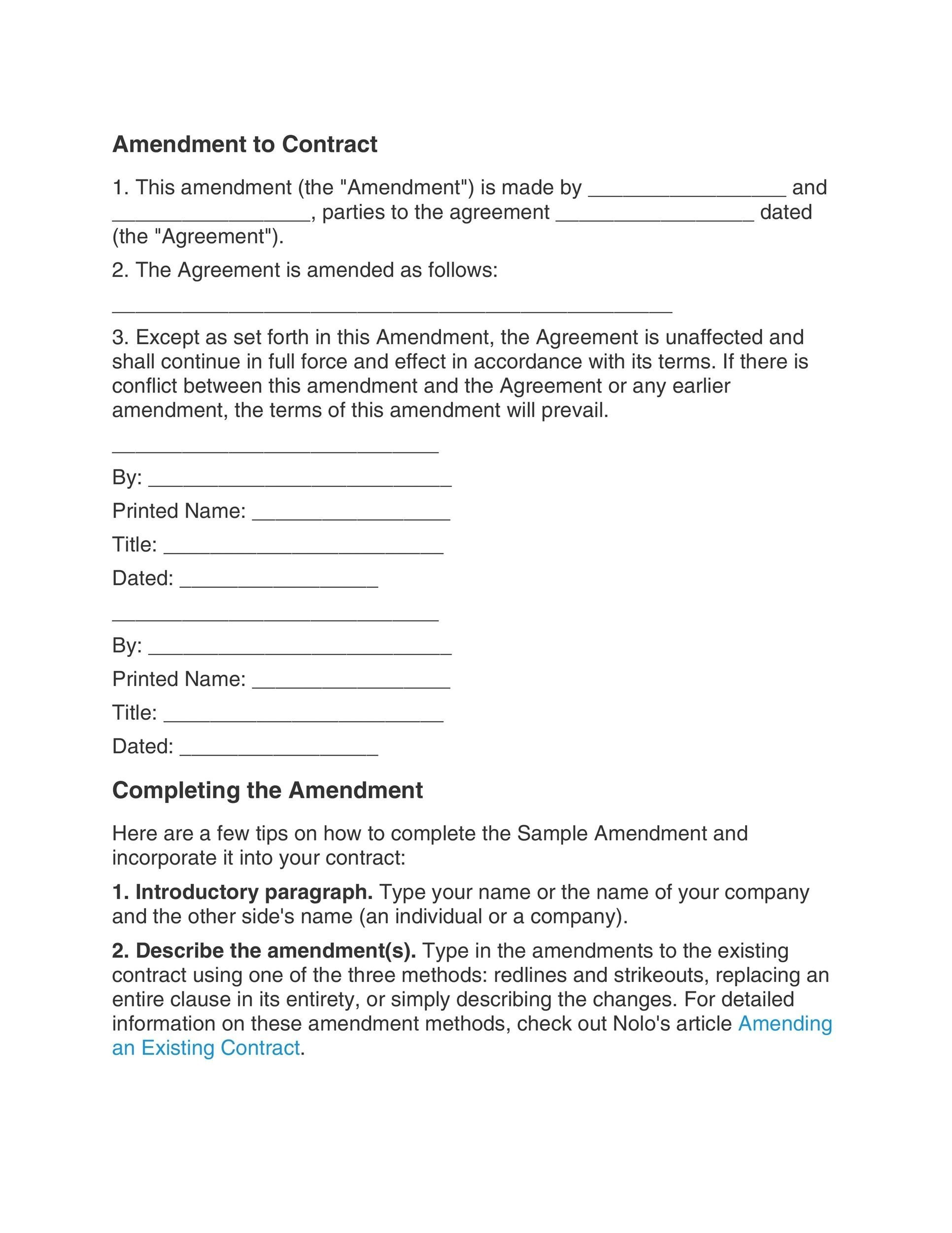 Free contract amendment 31