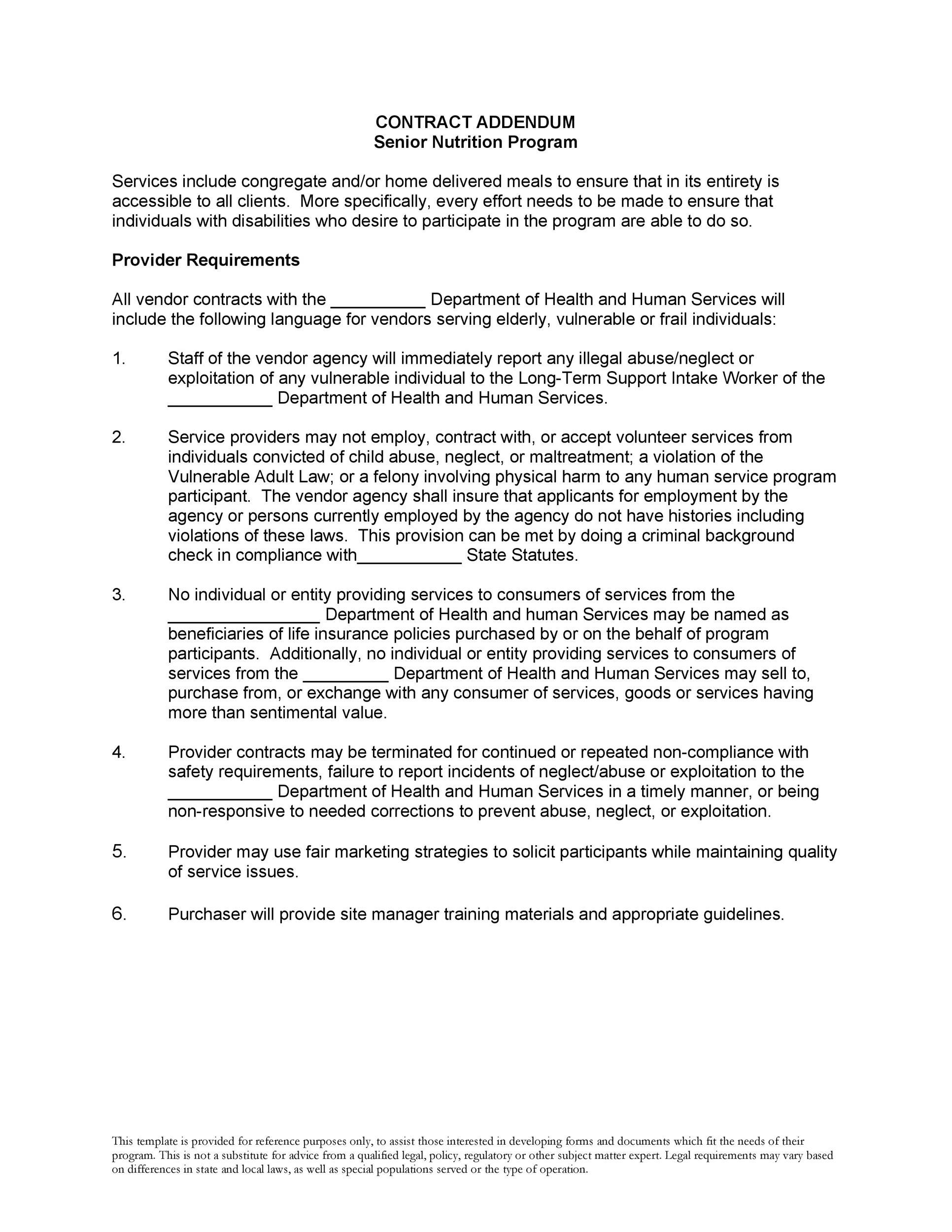 Free contract amendment 35