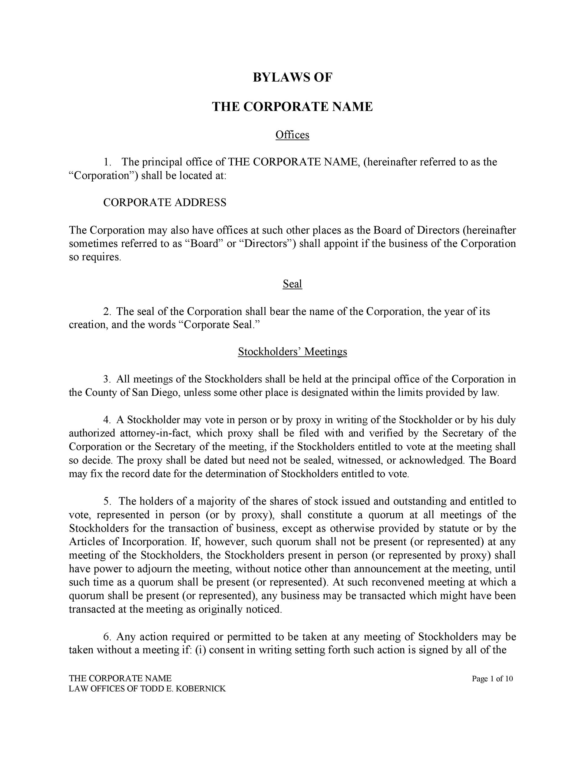 Free corporate bylaws 02