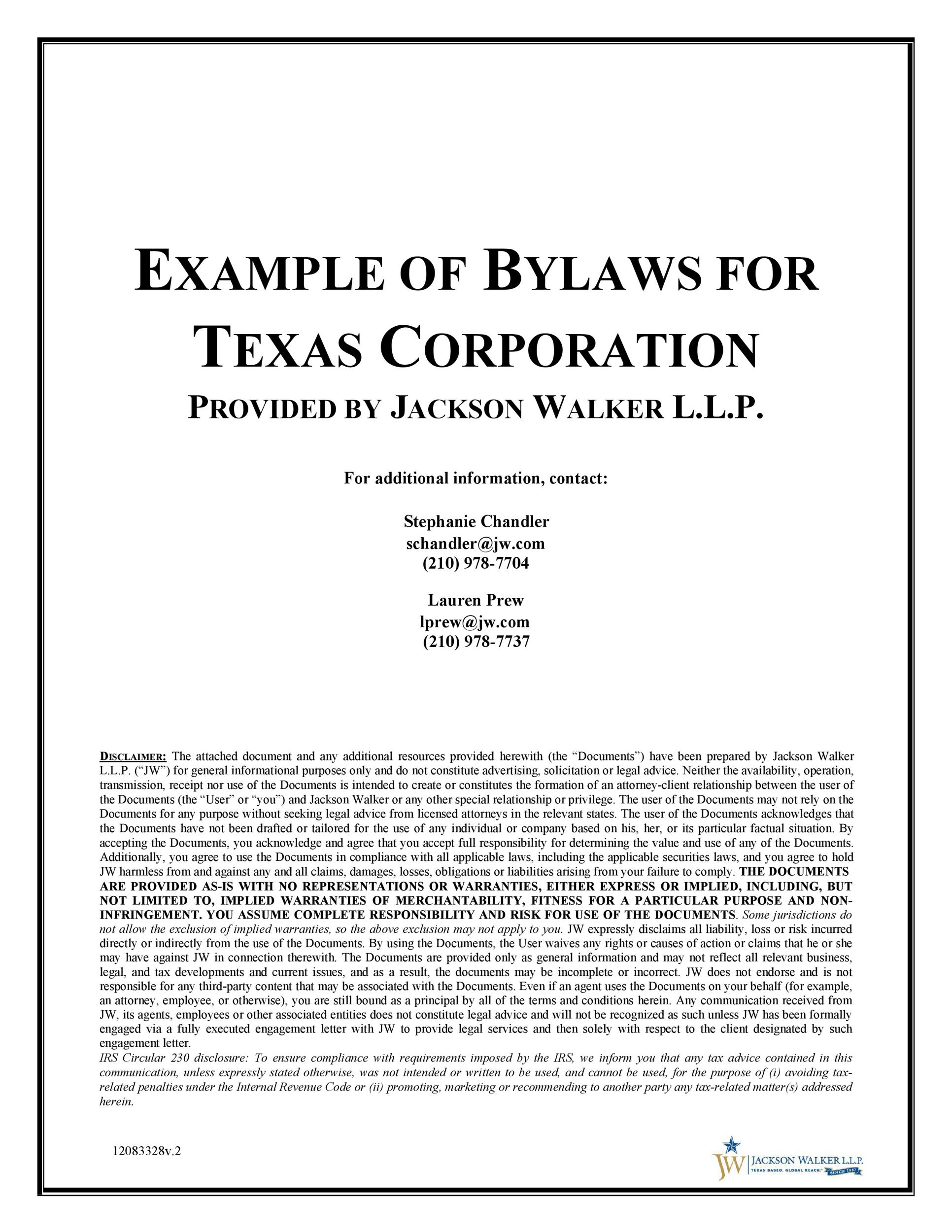 Free corporate bylaws 40