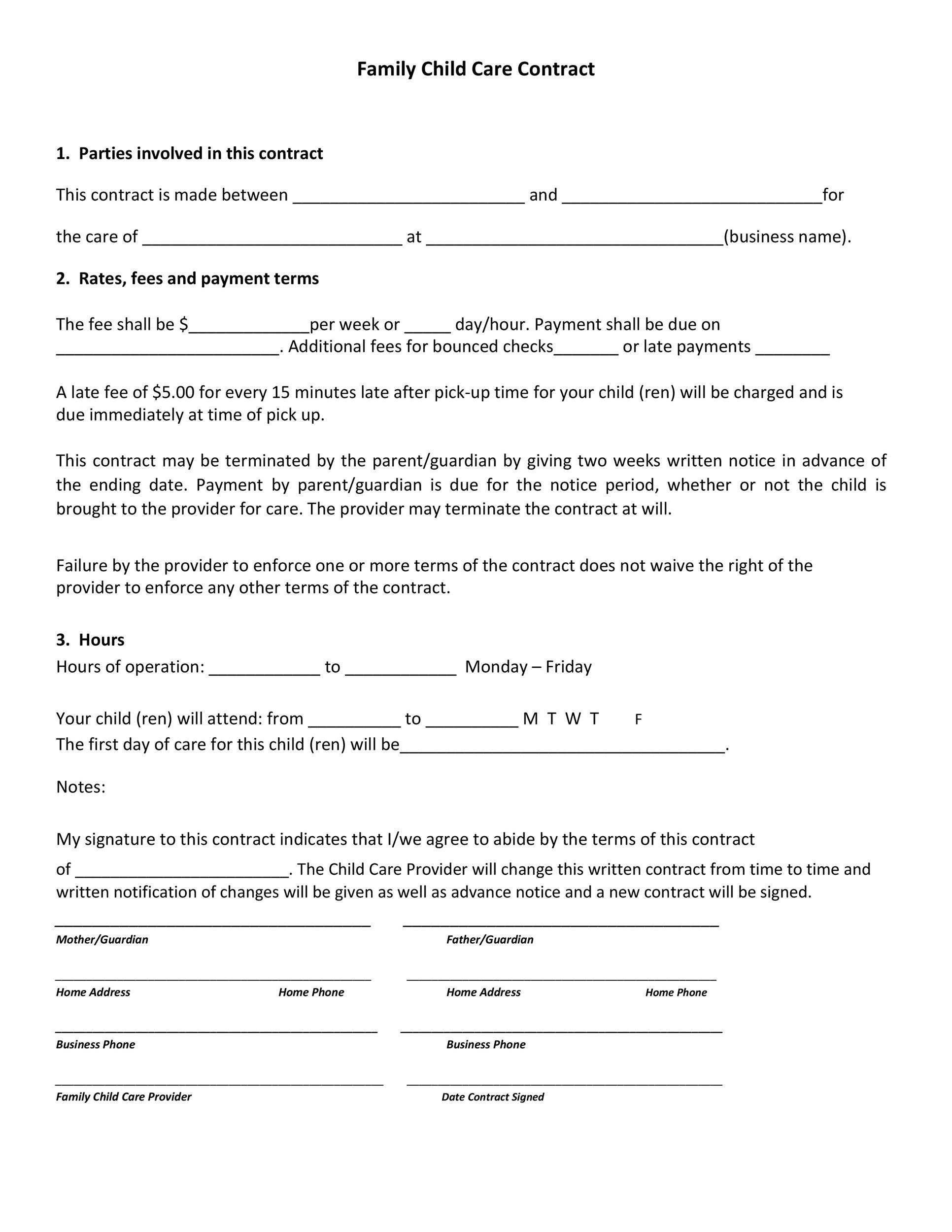 Free daycare contract 06