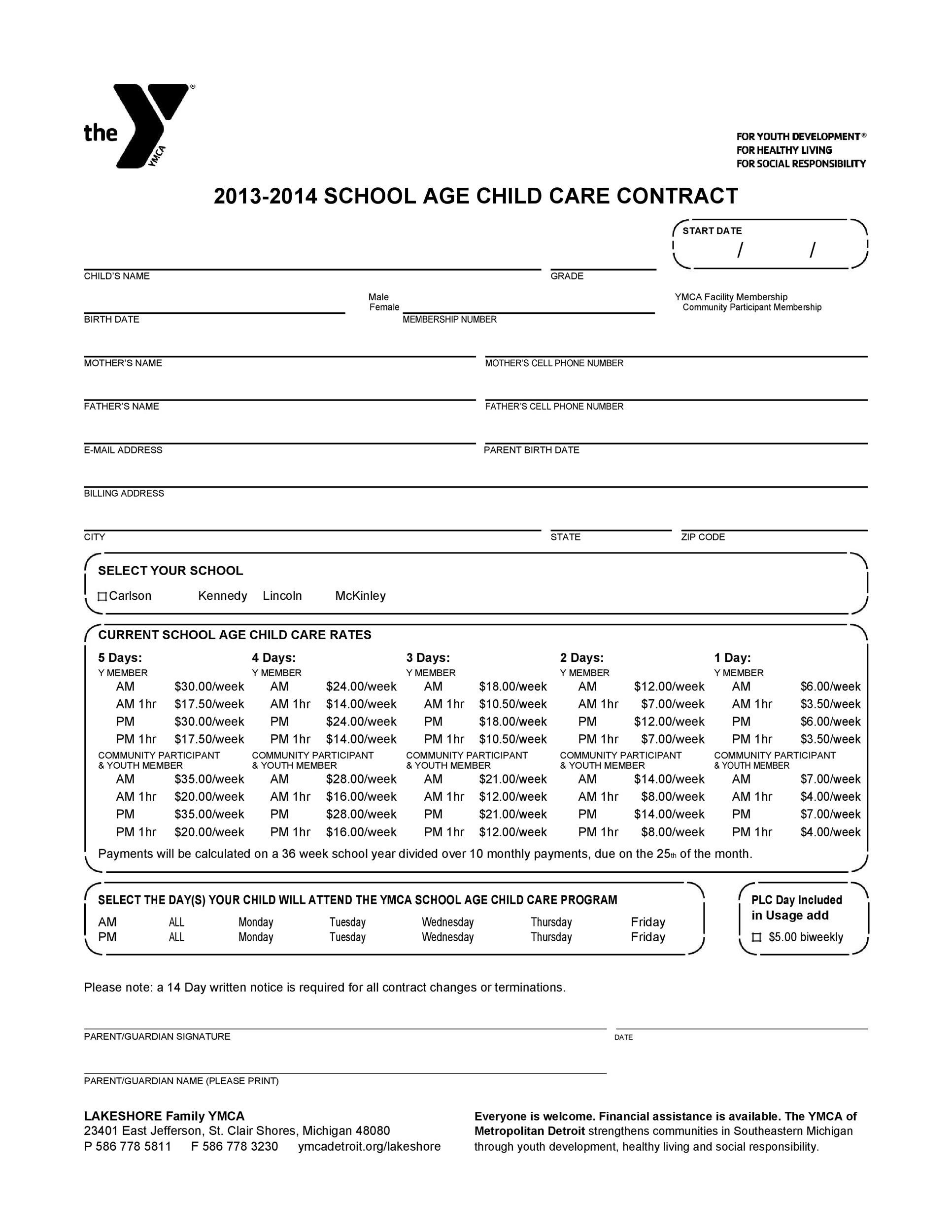 Free daycare contract 07