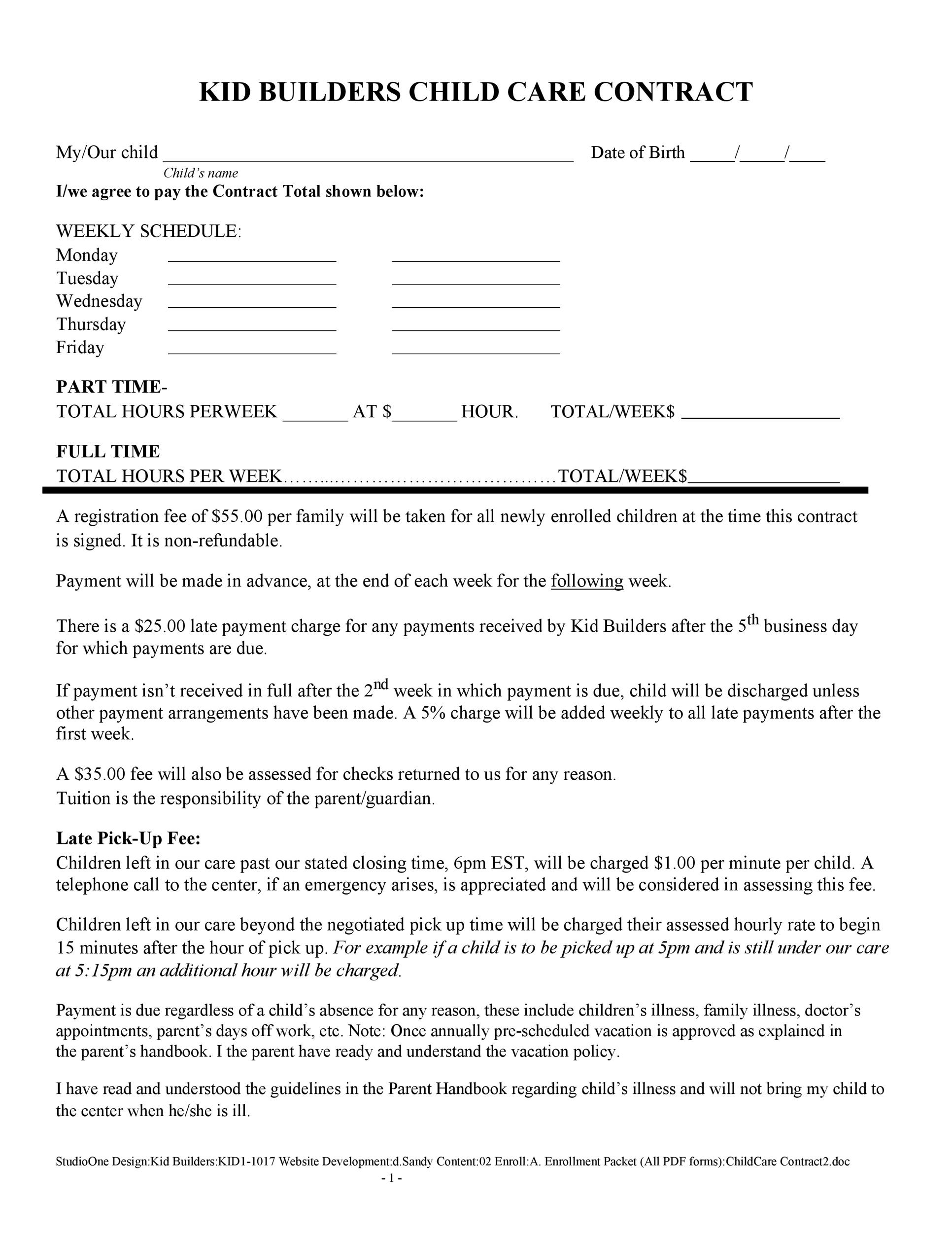 Free daycare contract 10