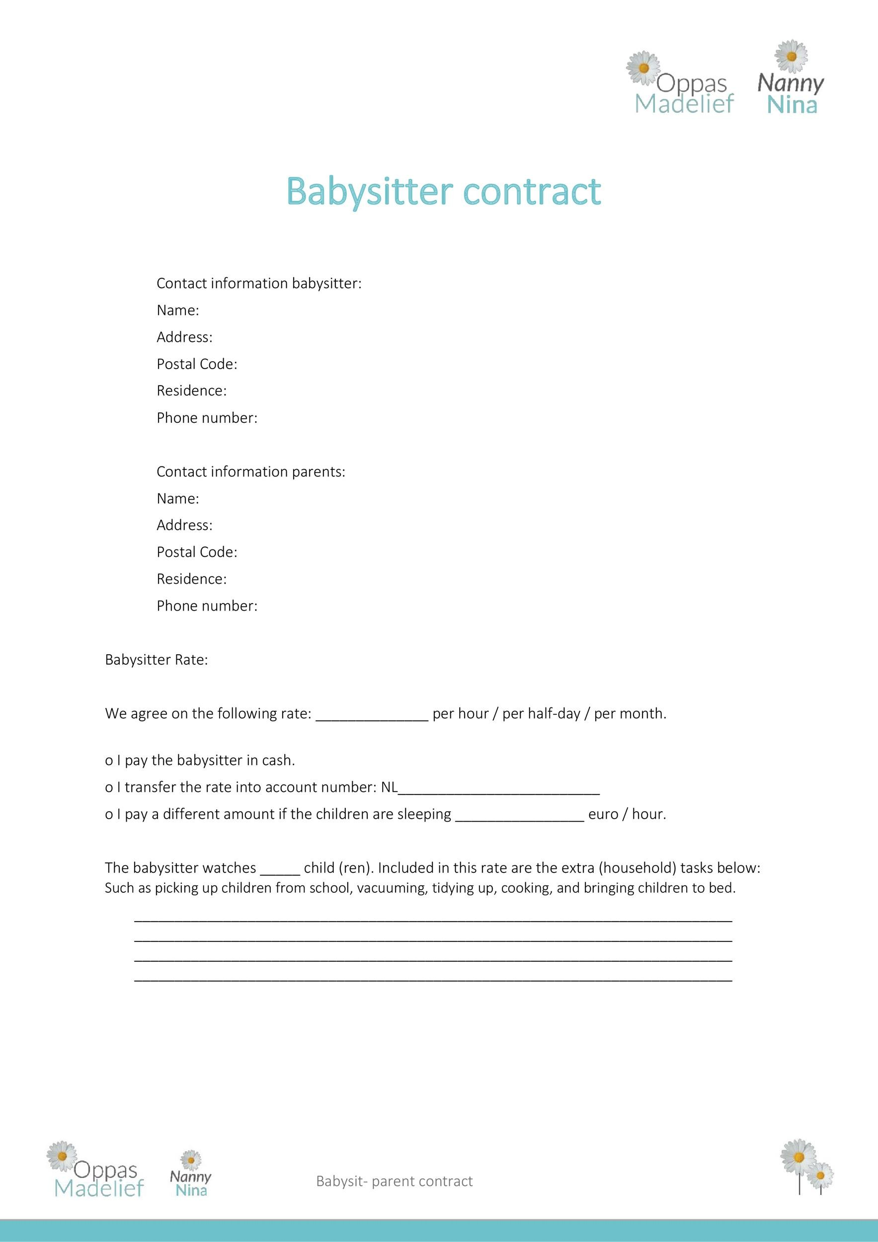 Free daycare contract 12