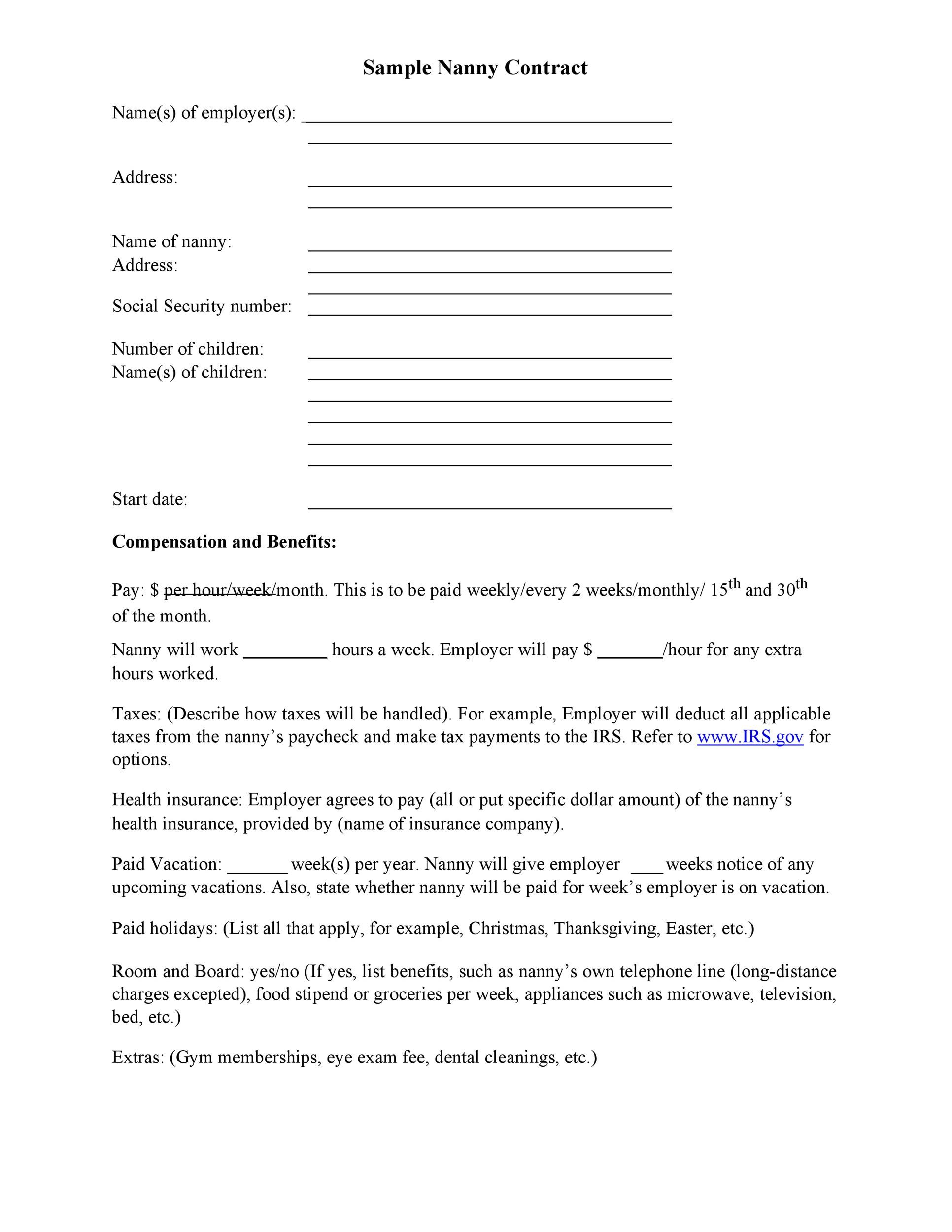 Free daycare contract 13