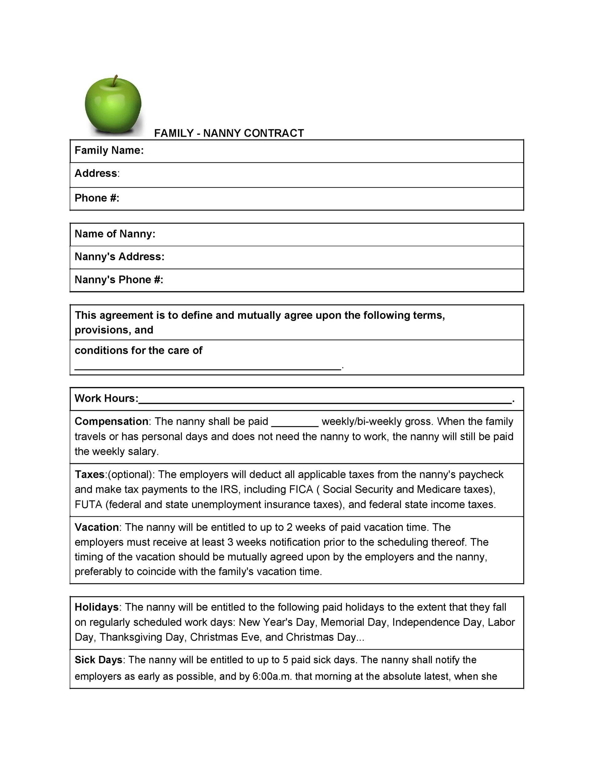 Free daycare contract 18