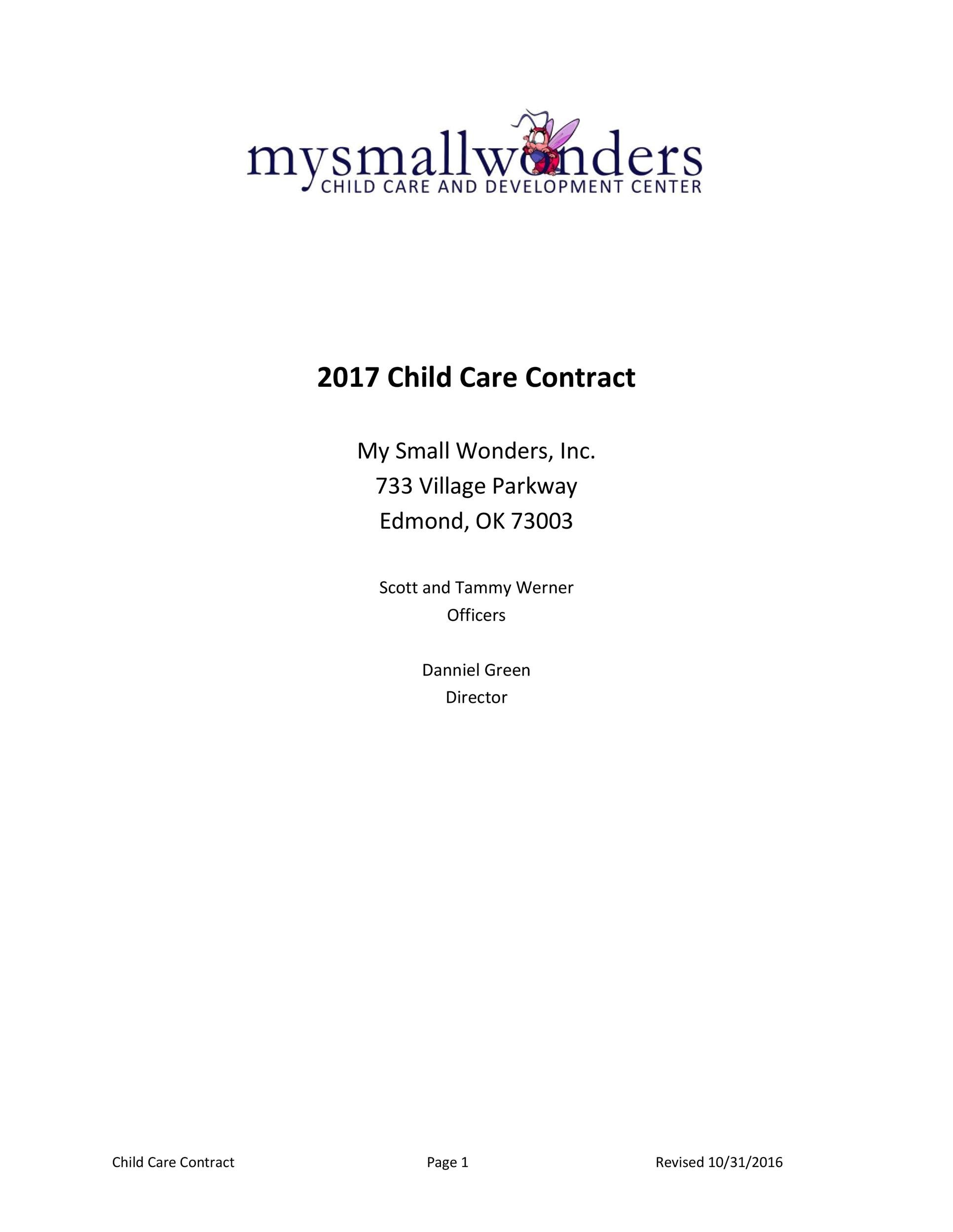 Free daycare contract 21