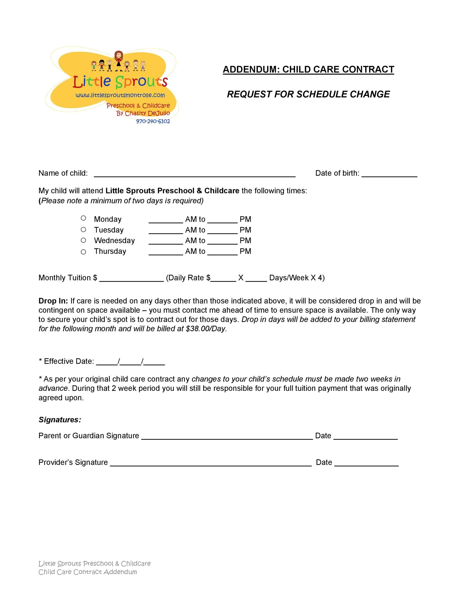 Free daycare contract 22