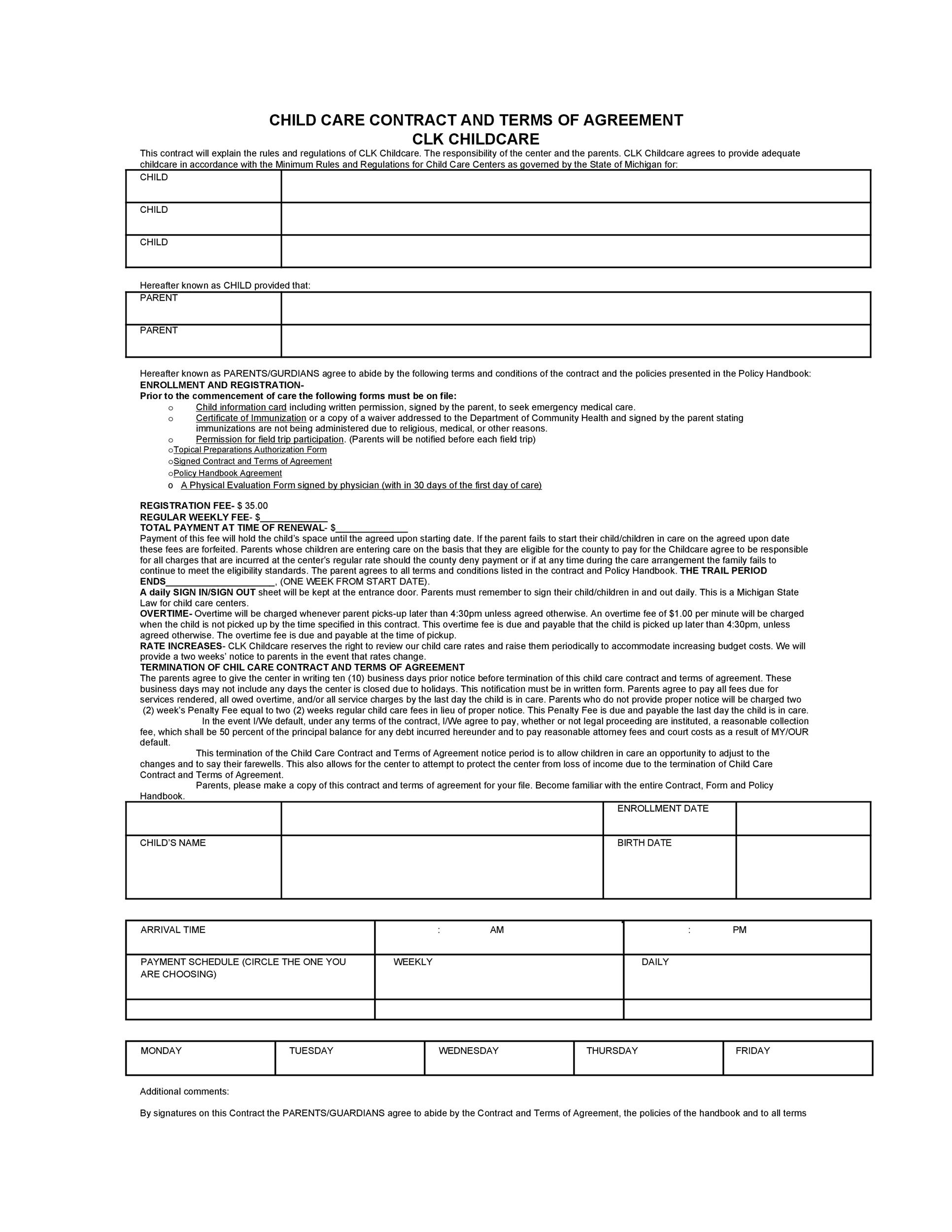 50 Daycare, Child Care & Babysitting Contract Templates