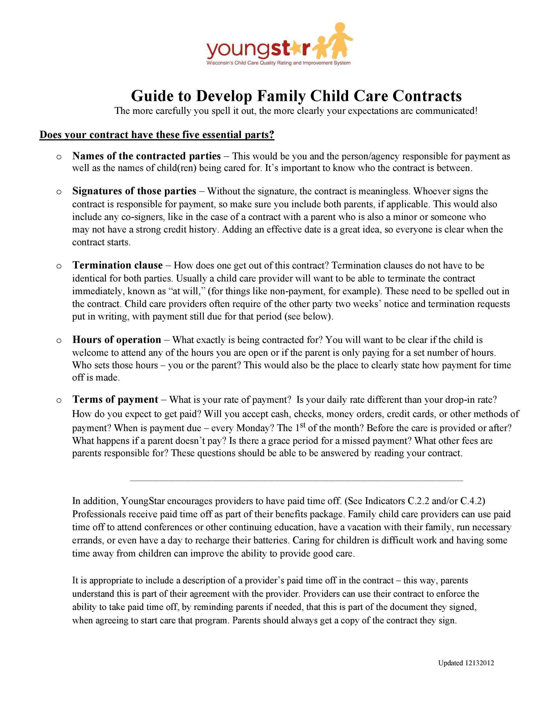 Free daycare contract 25