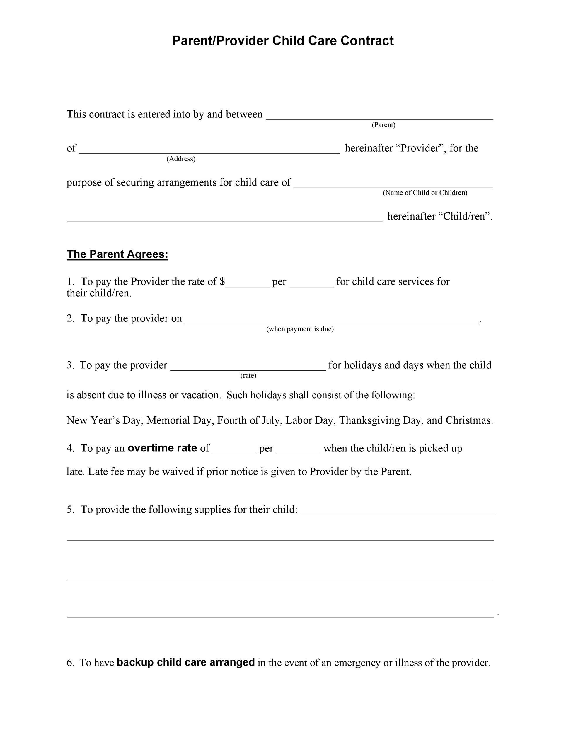 Free daycare contract 28