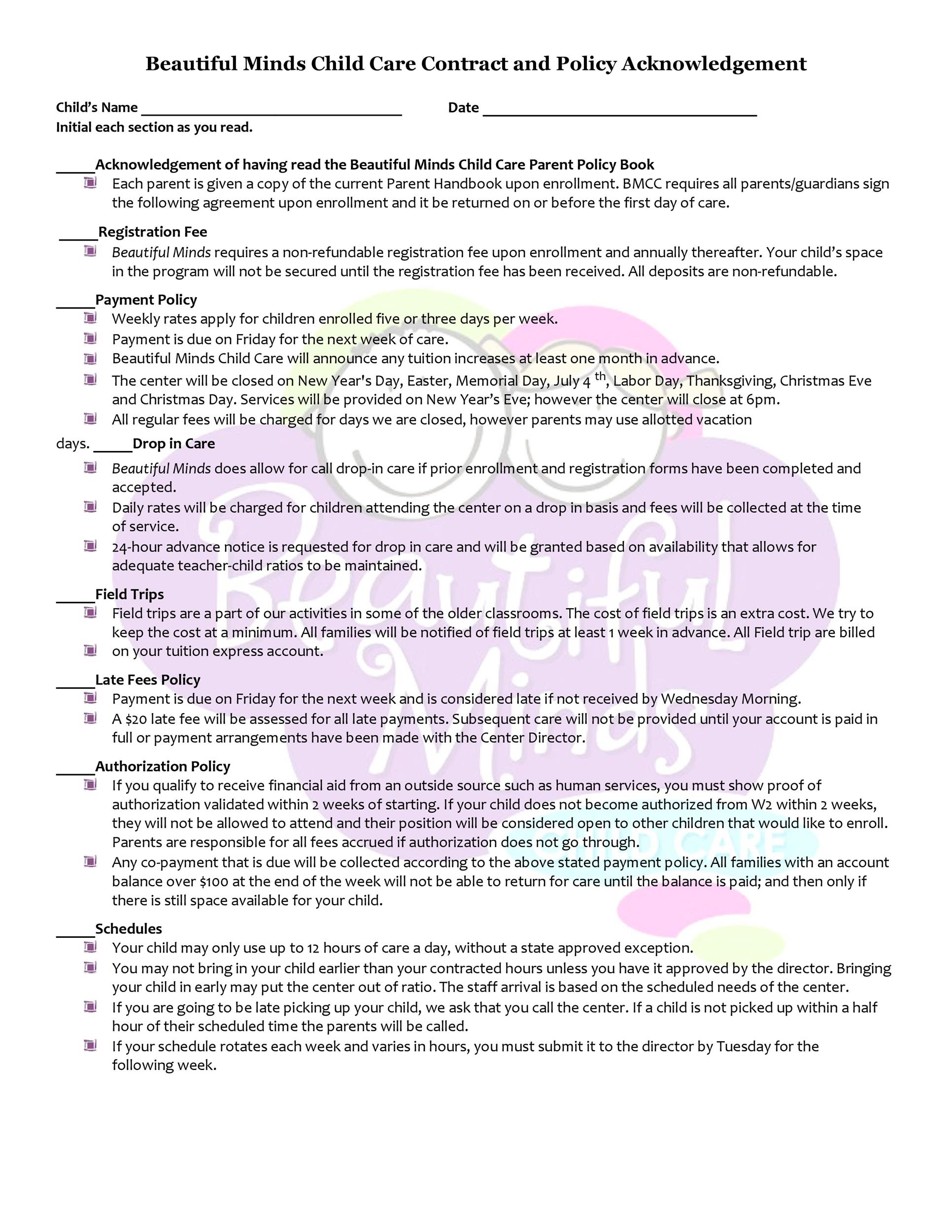 Free daycare contract 30