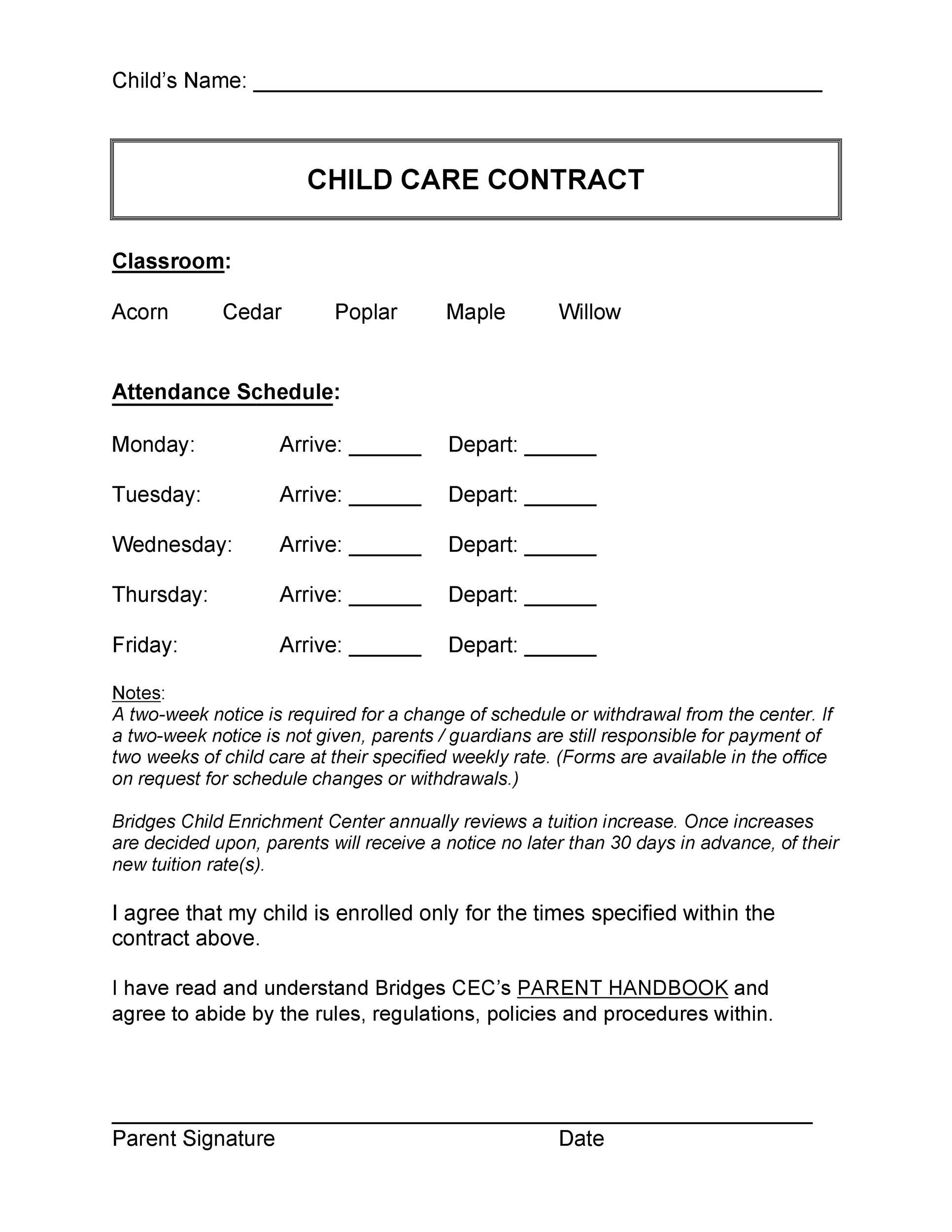 graphic relating to Printable Daycare Contracts identified as 50 Daycare, Baby Treatment Babysitting Agreement Templates