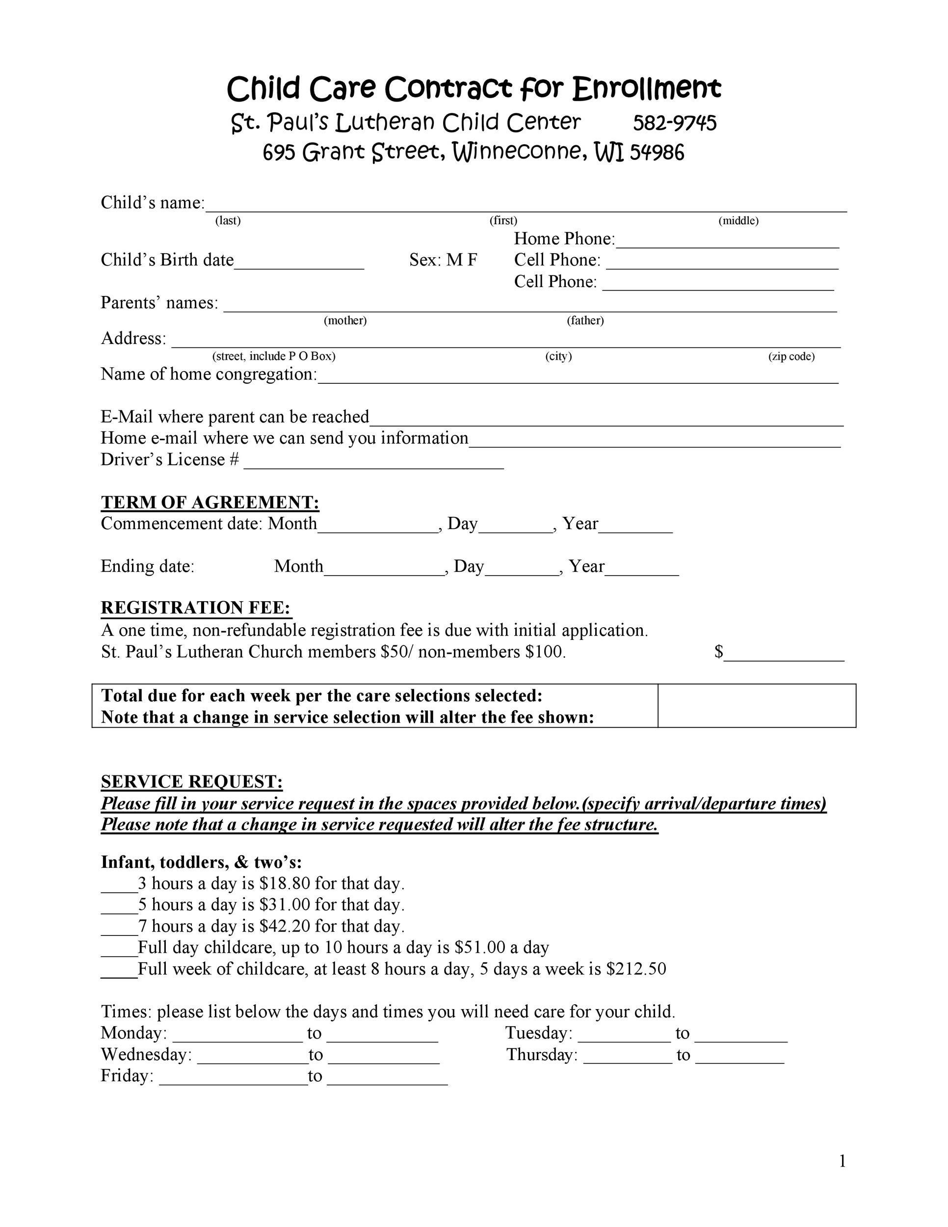 photo about Home Daycare Forms Printable called 50 Daycare, Youngster Treatment Babysitting Agreement Templates