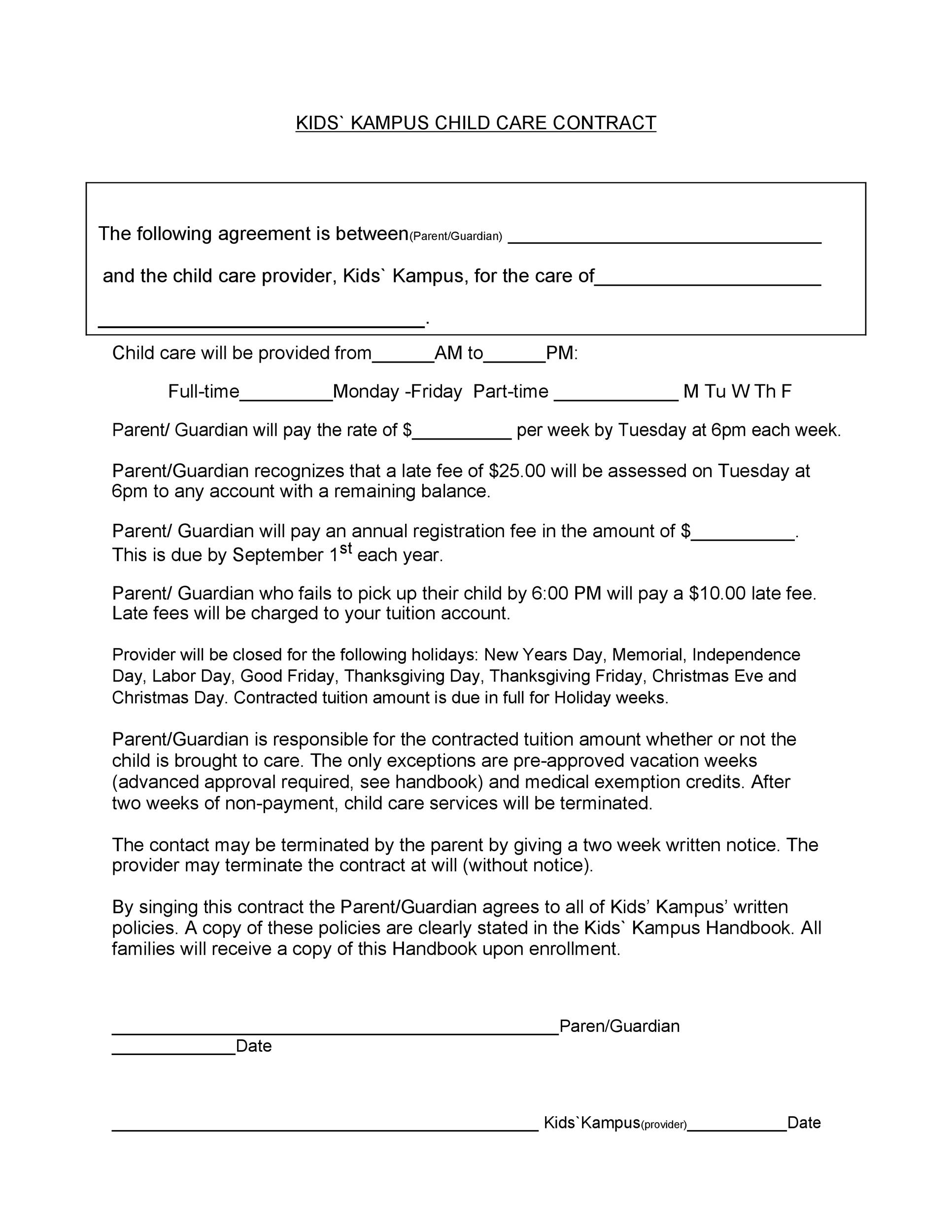 Free daycare contract 39
