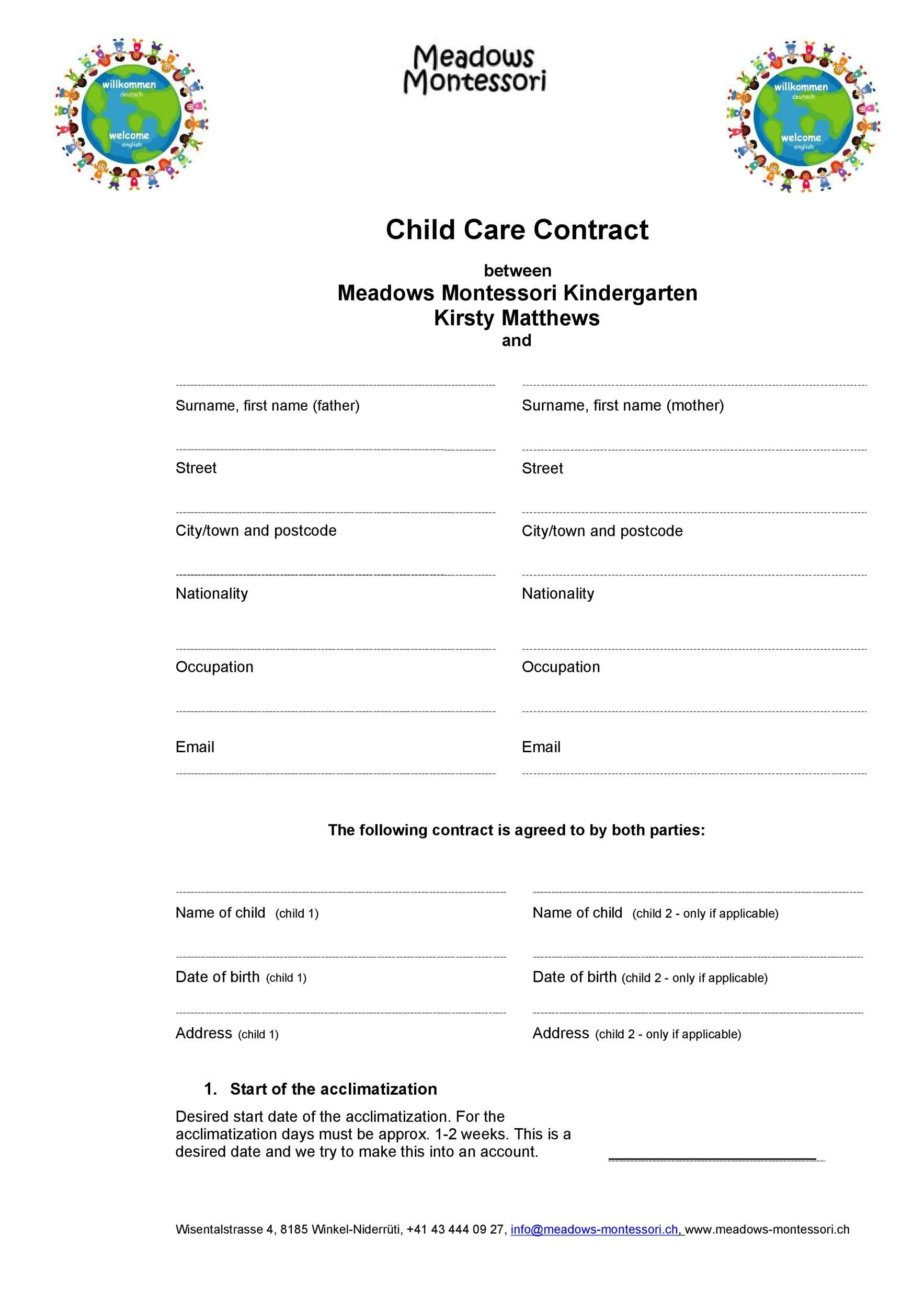 Free daycare contract 42