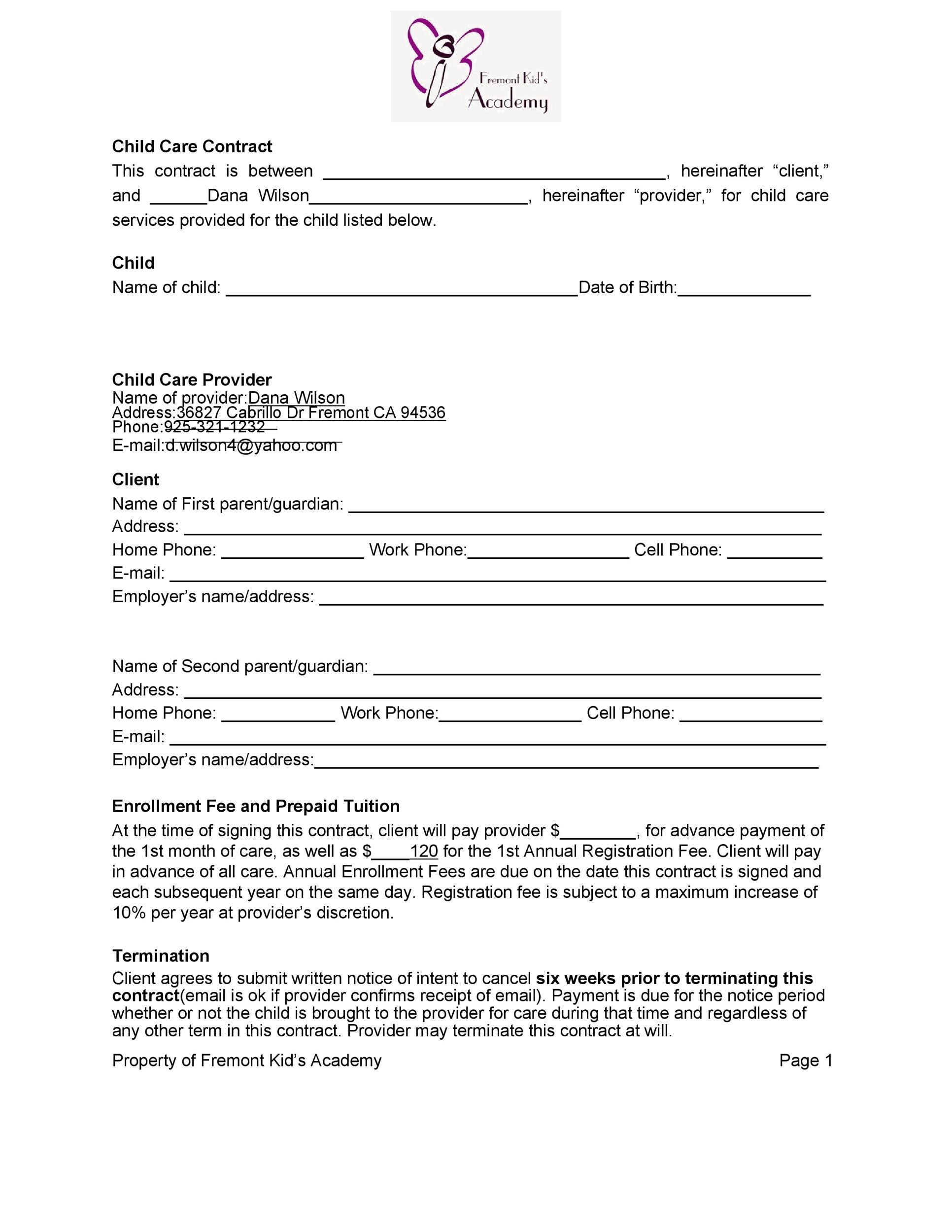 Free daycare contract 43
