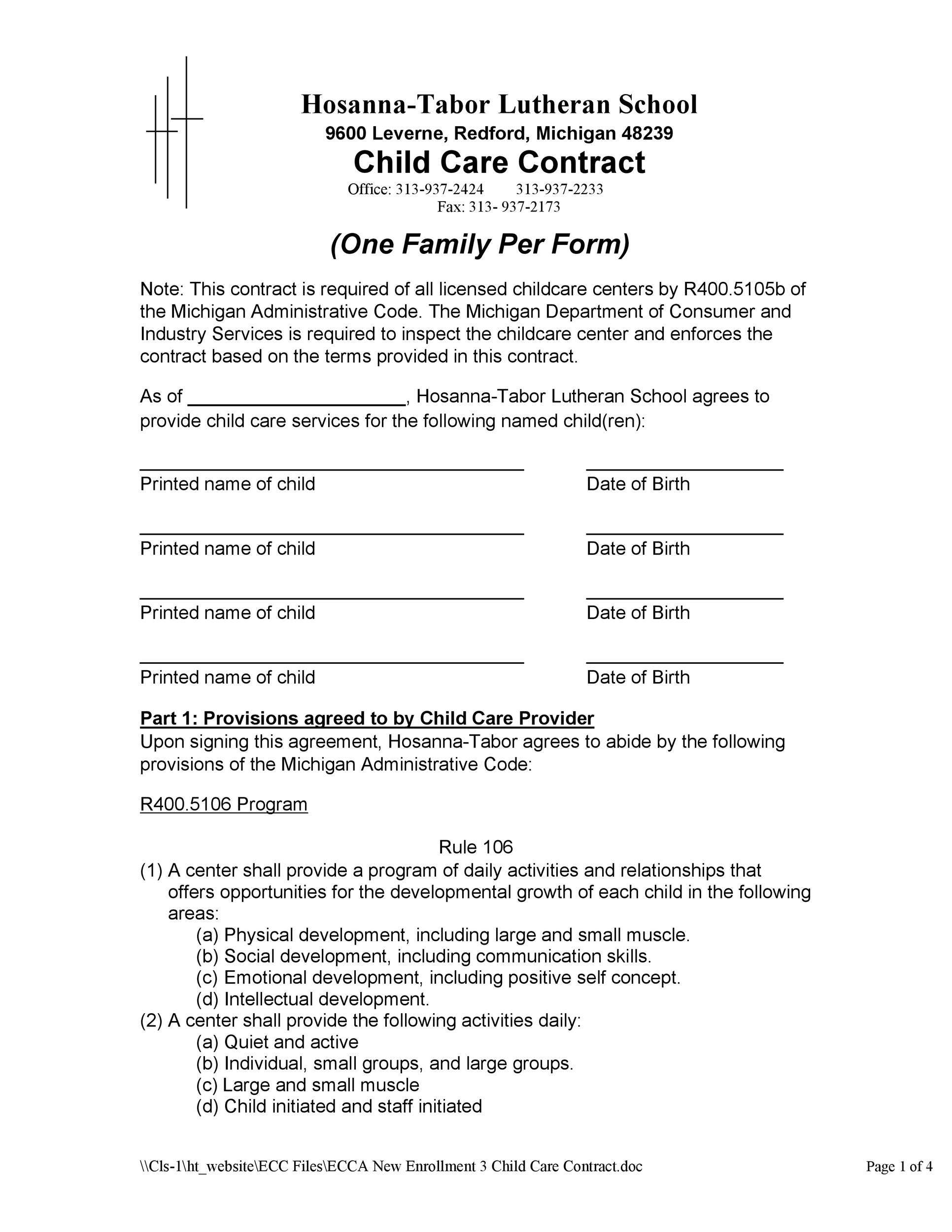 Free daycare contract 44
