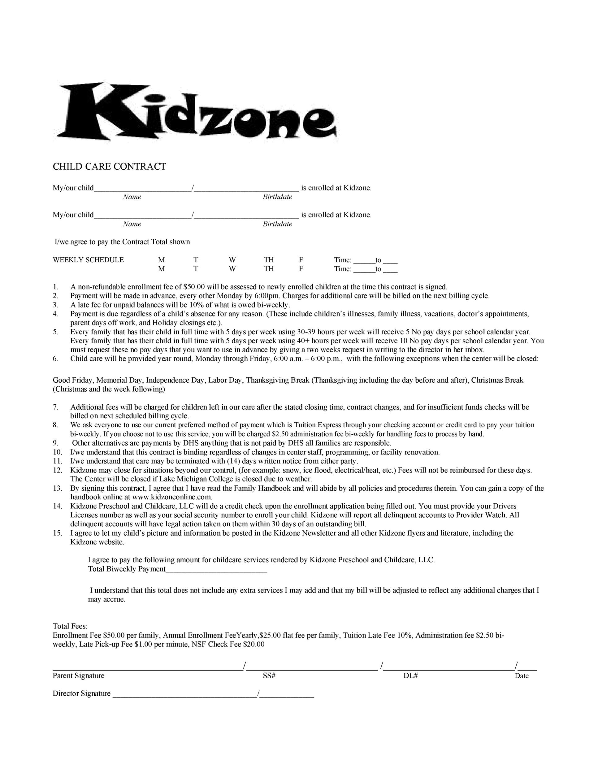 Free daycare contract 46