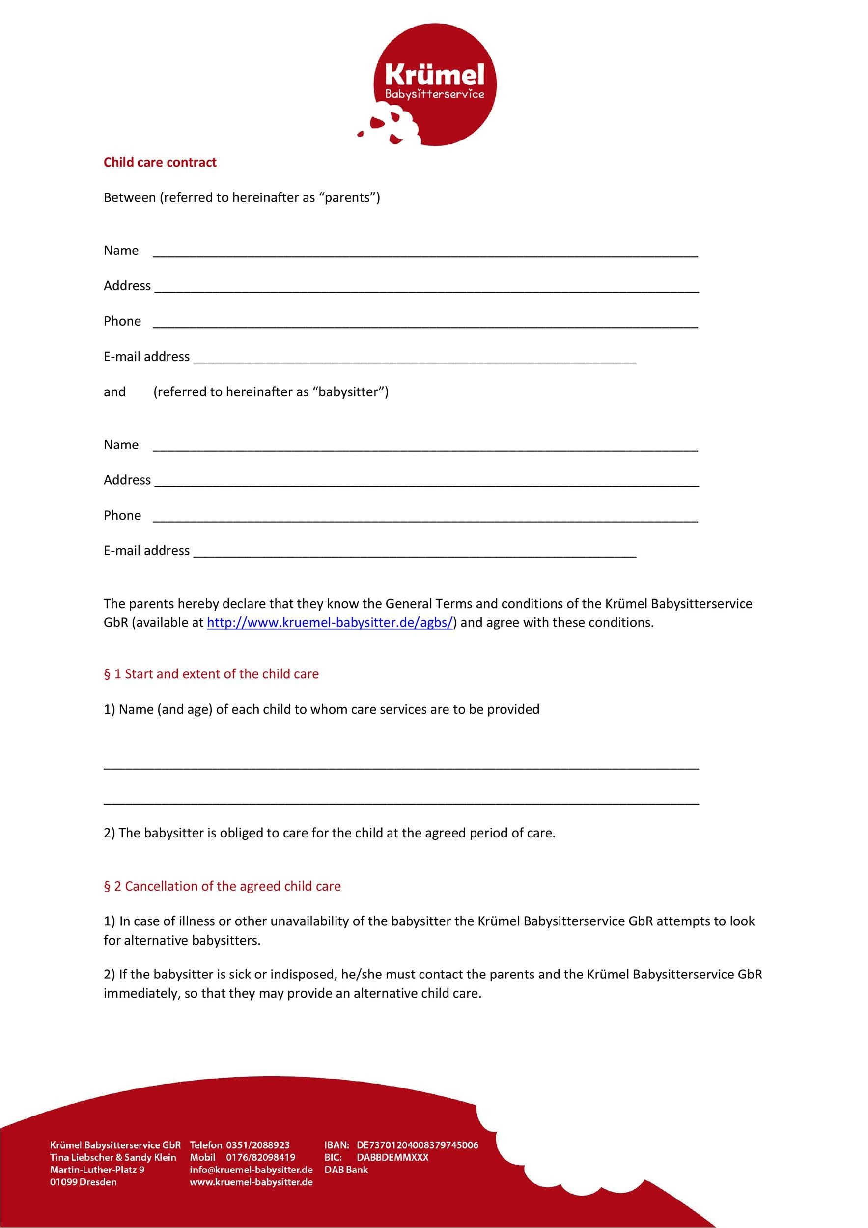 Free daycare contract 49