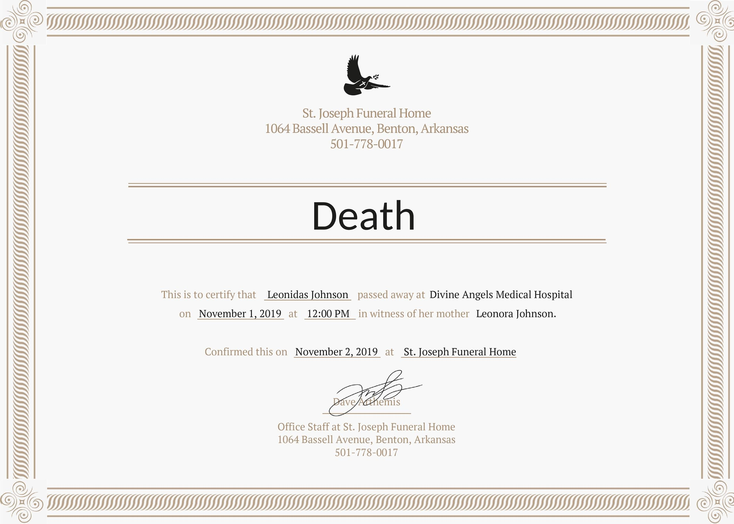 Free death certificate template 01