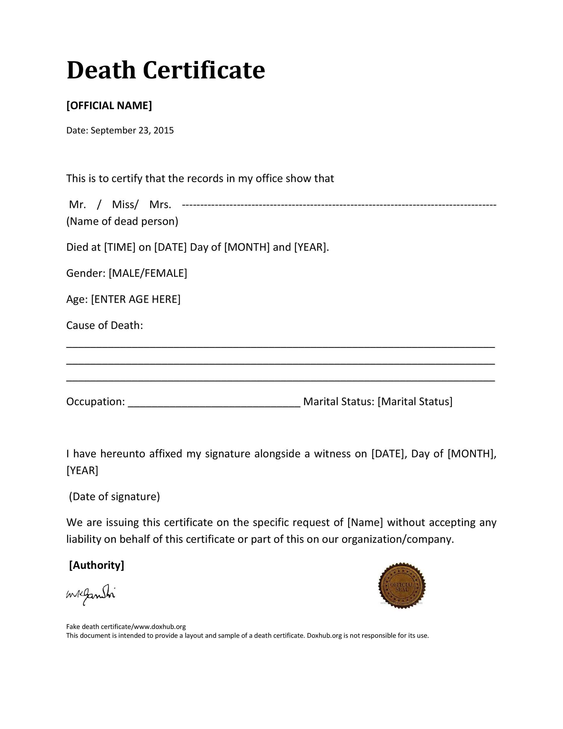 Free death certificate template 02