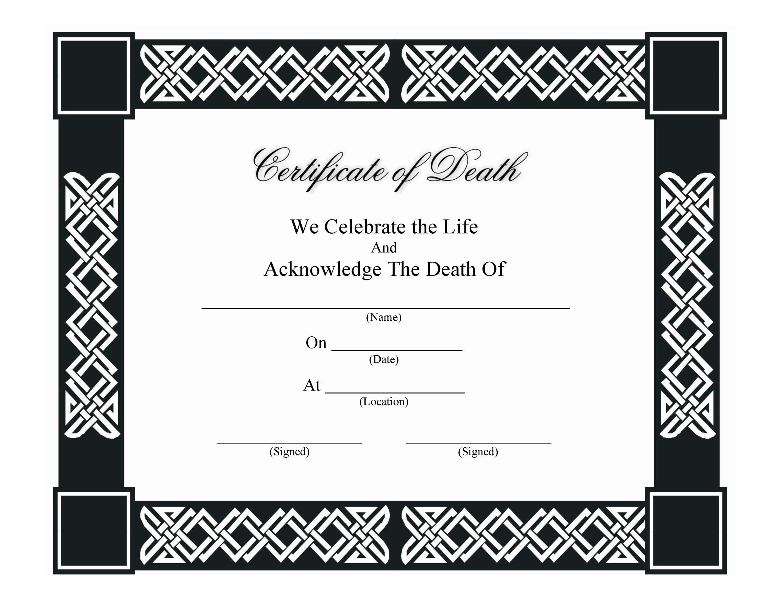 Free death certificate template 04