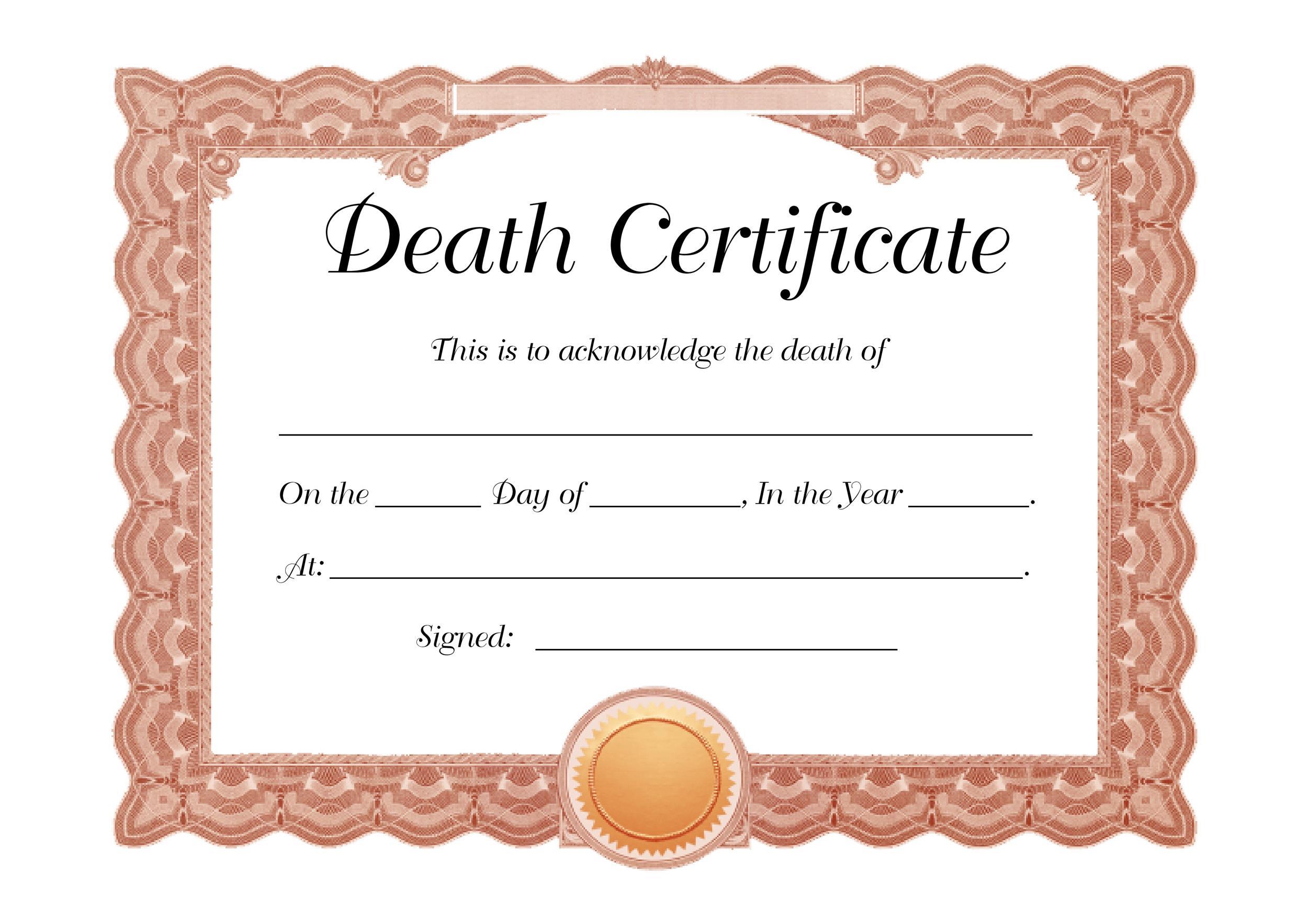 Free death certificate template 07