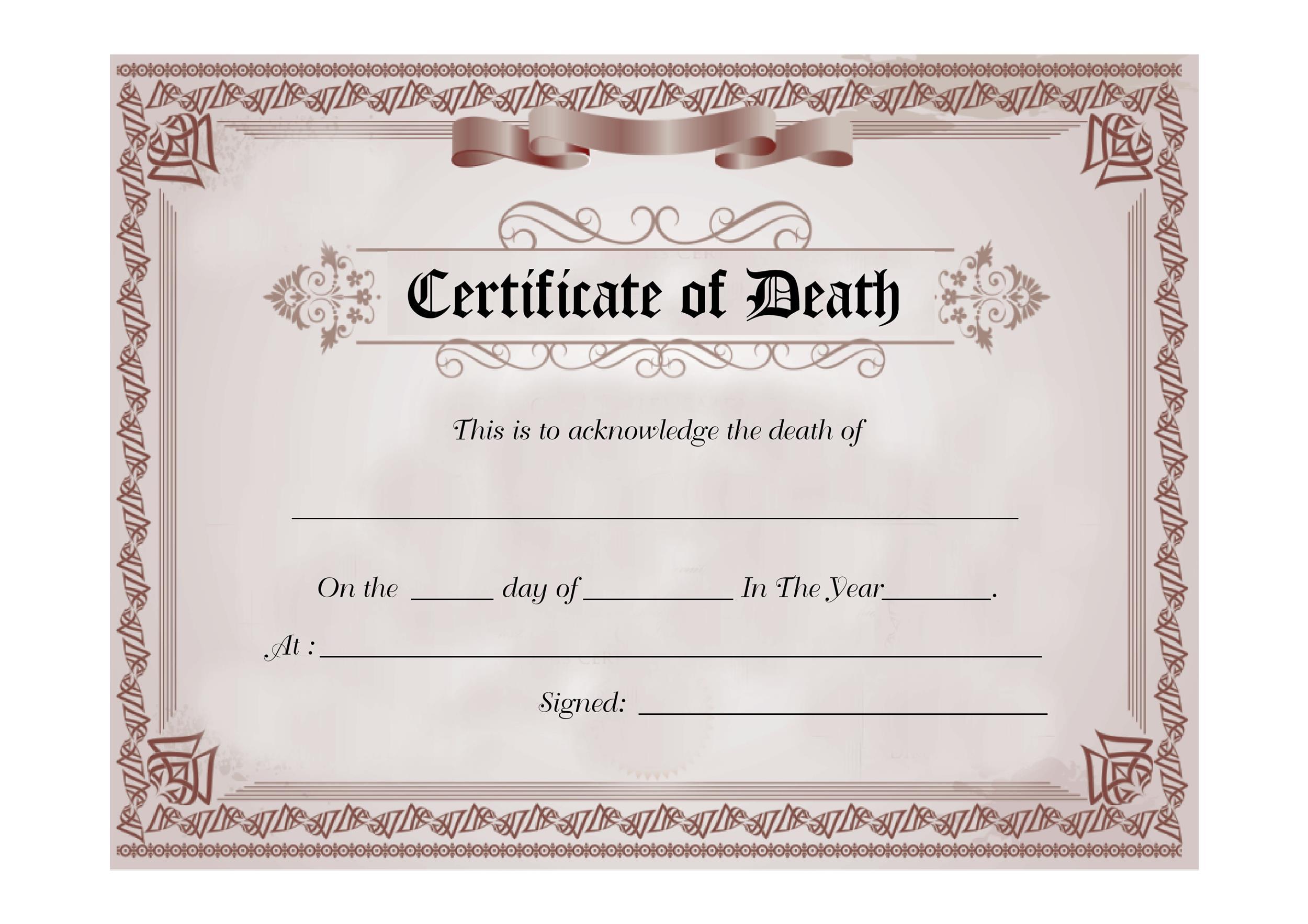 Free death certificate template 08