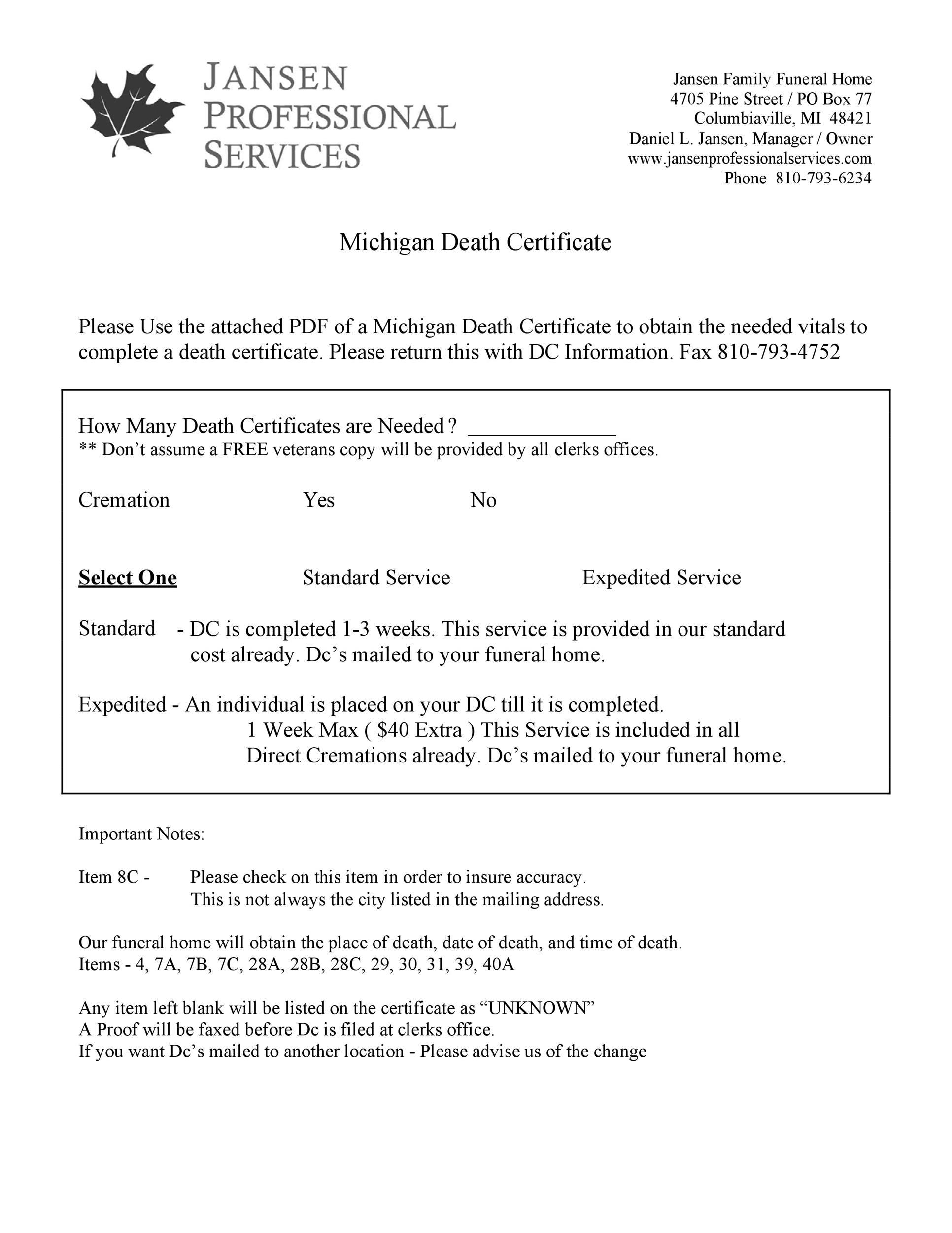 Free death certificate template 13