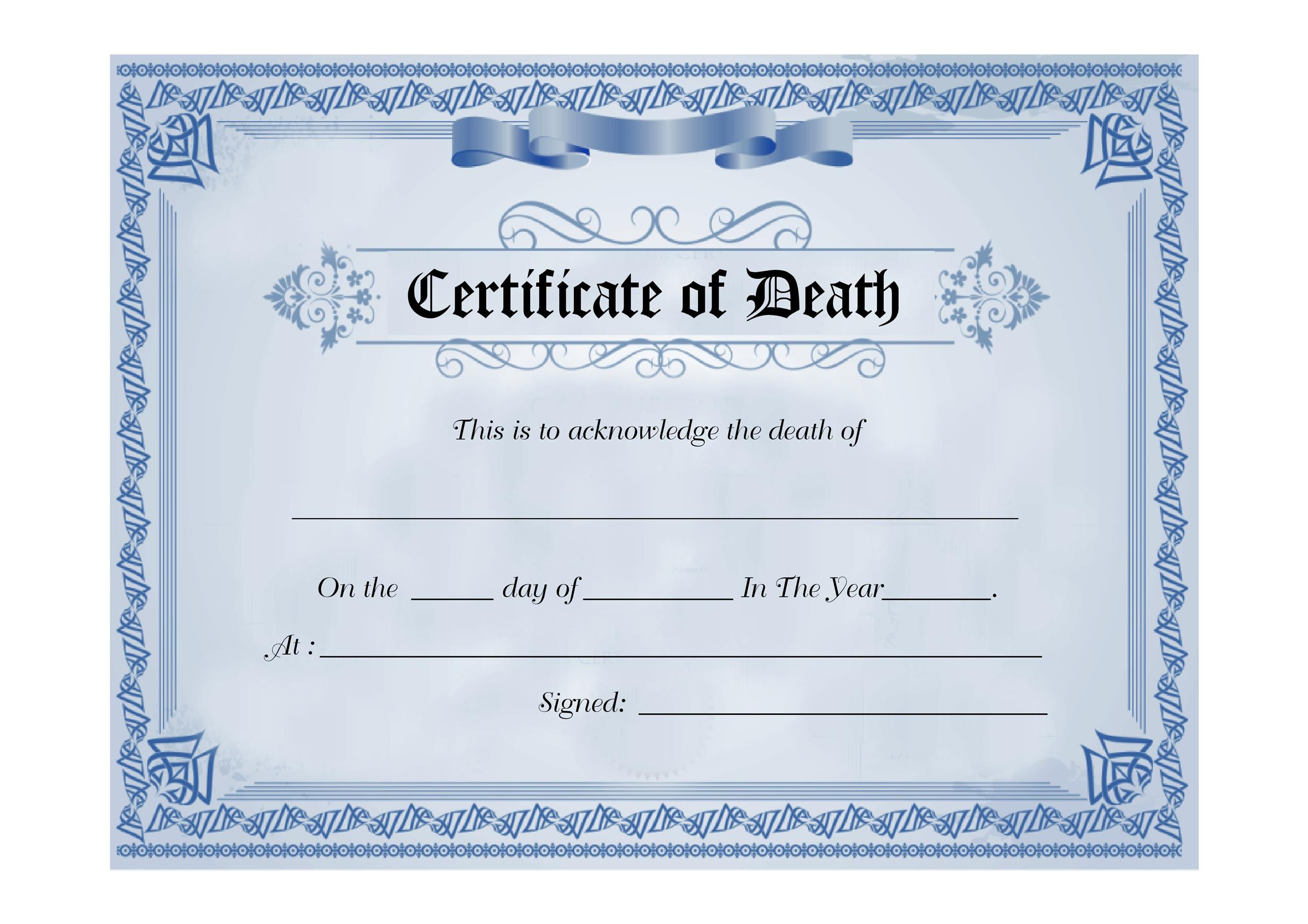 Free death certificate template 14