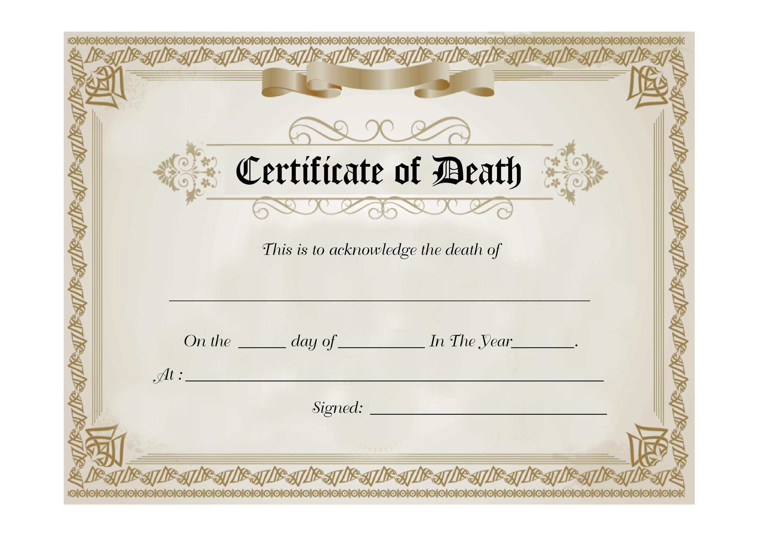 Free death certificate template 16