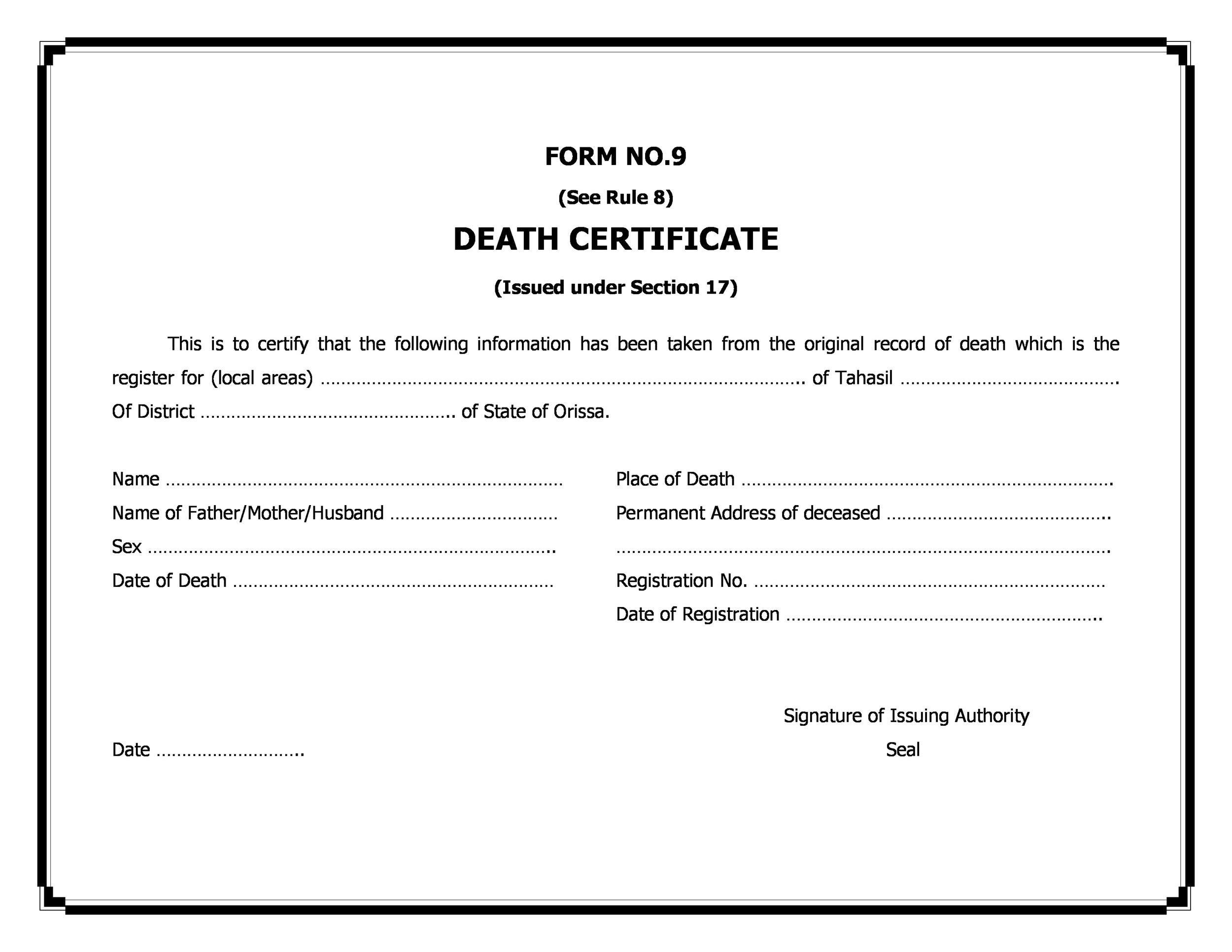 Free death certificate template 20